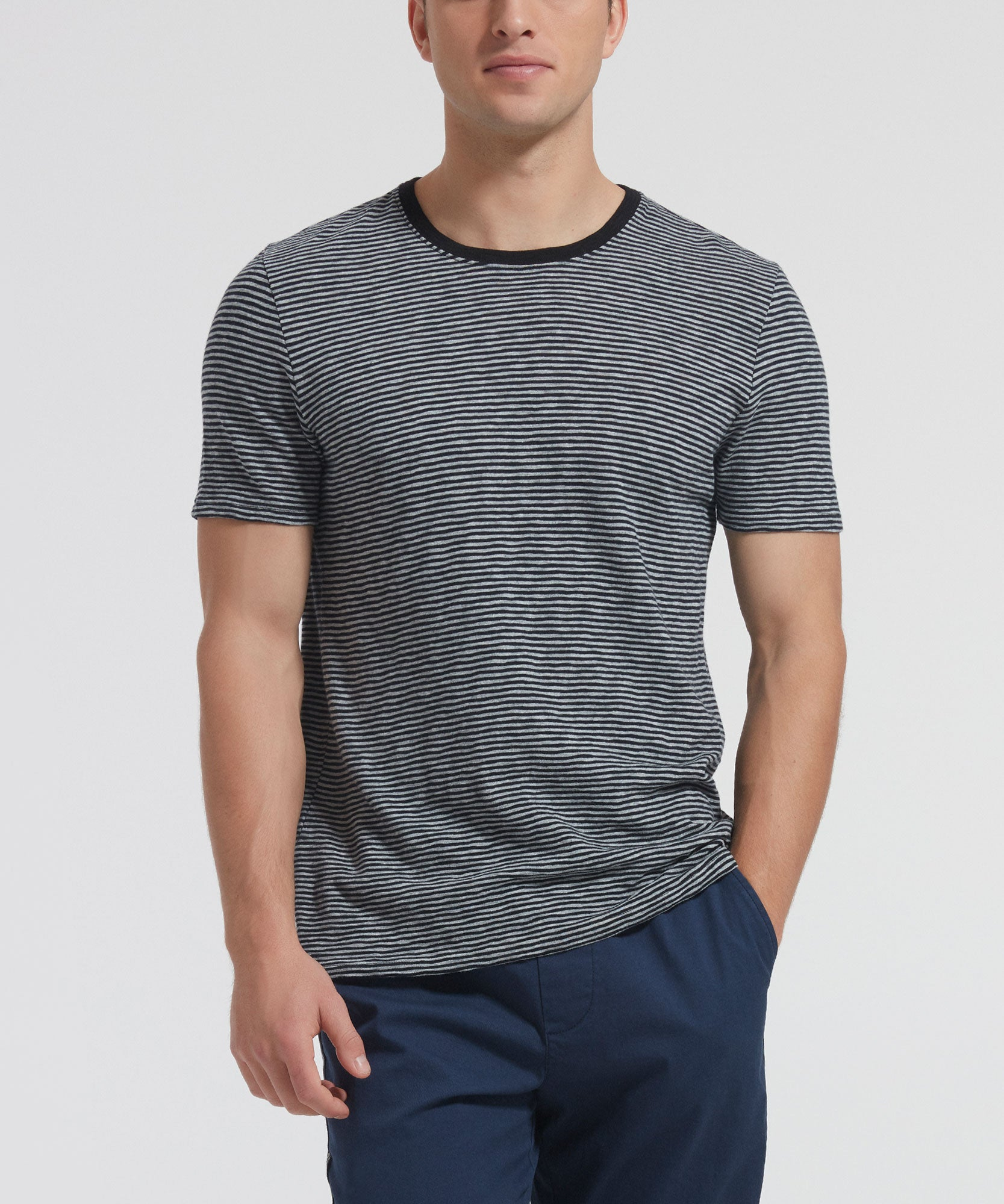 Grey and Black Striped Jersey Crew Neck Tee - Men's Short Sleeve T-shirt by ATM Anthony Thomas Melillo