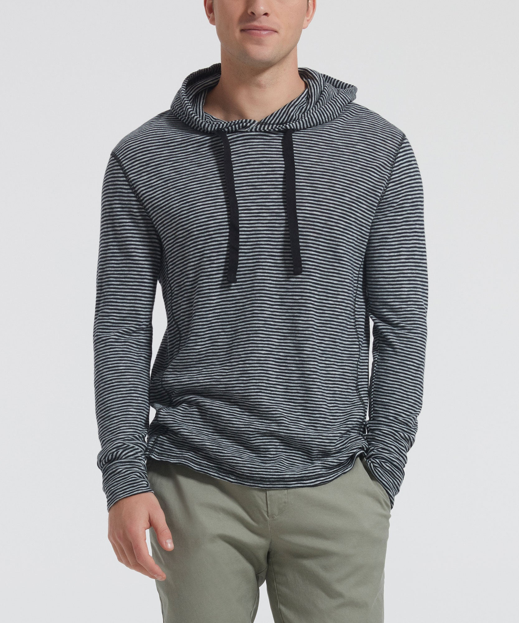 Striped Jersey Hooded Tee - Men's Luxe Loungewear by ATM Anthony Thomas Melillo