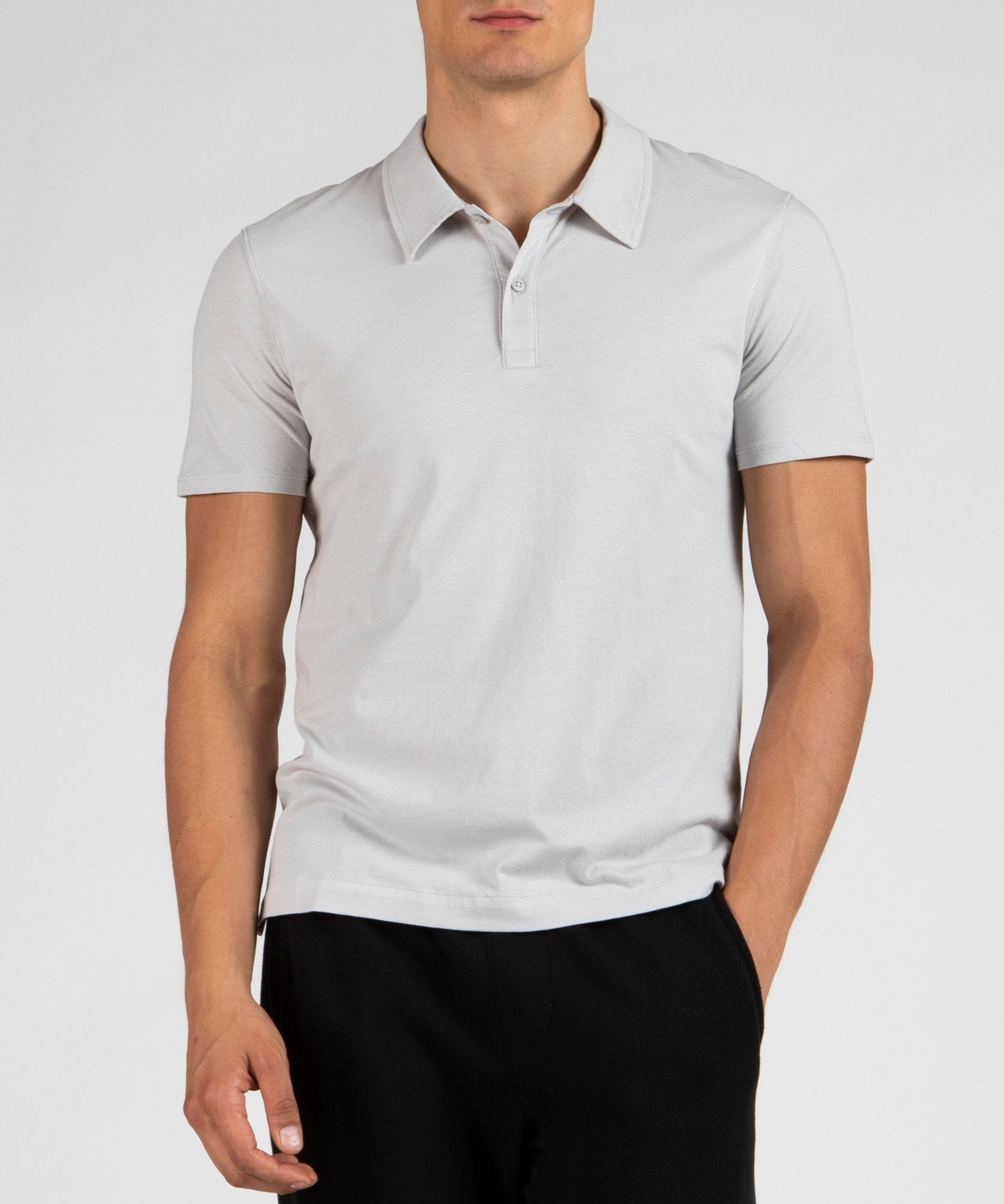 Grey Classic Jersey Short Sleeve Polo - Men's Polo Shirt by ATM Anthony Thomas Melillo