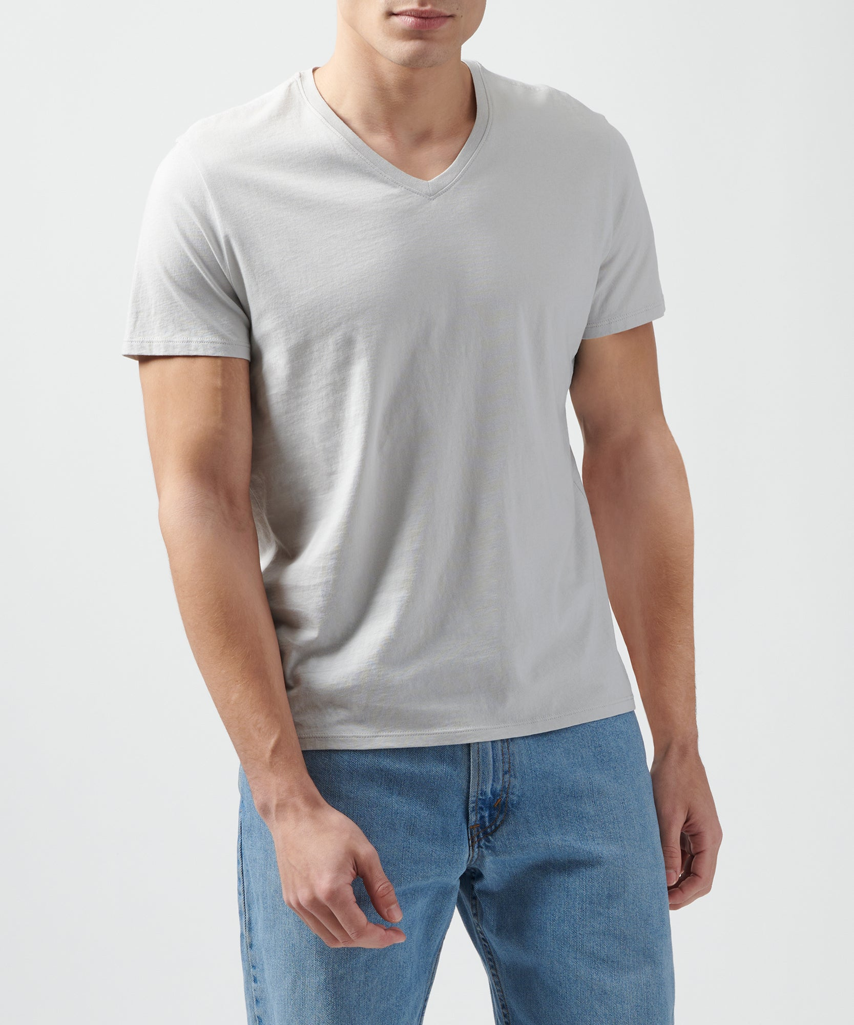 Grey Classic Jersey V-Neck Tee - Men's Cotton Short Sleeve T-shirt by ATM Anthony Thomas Melillo