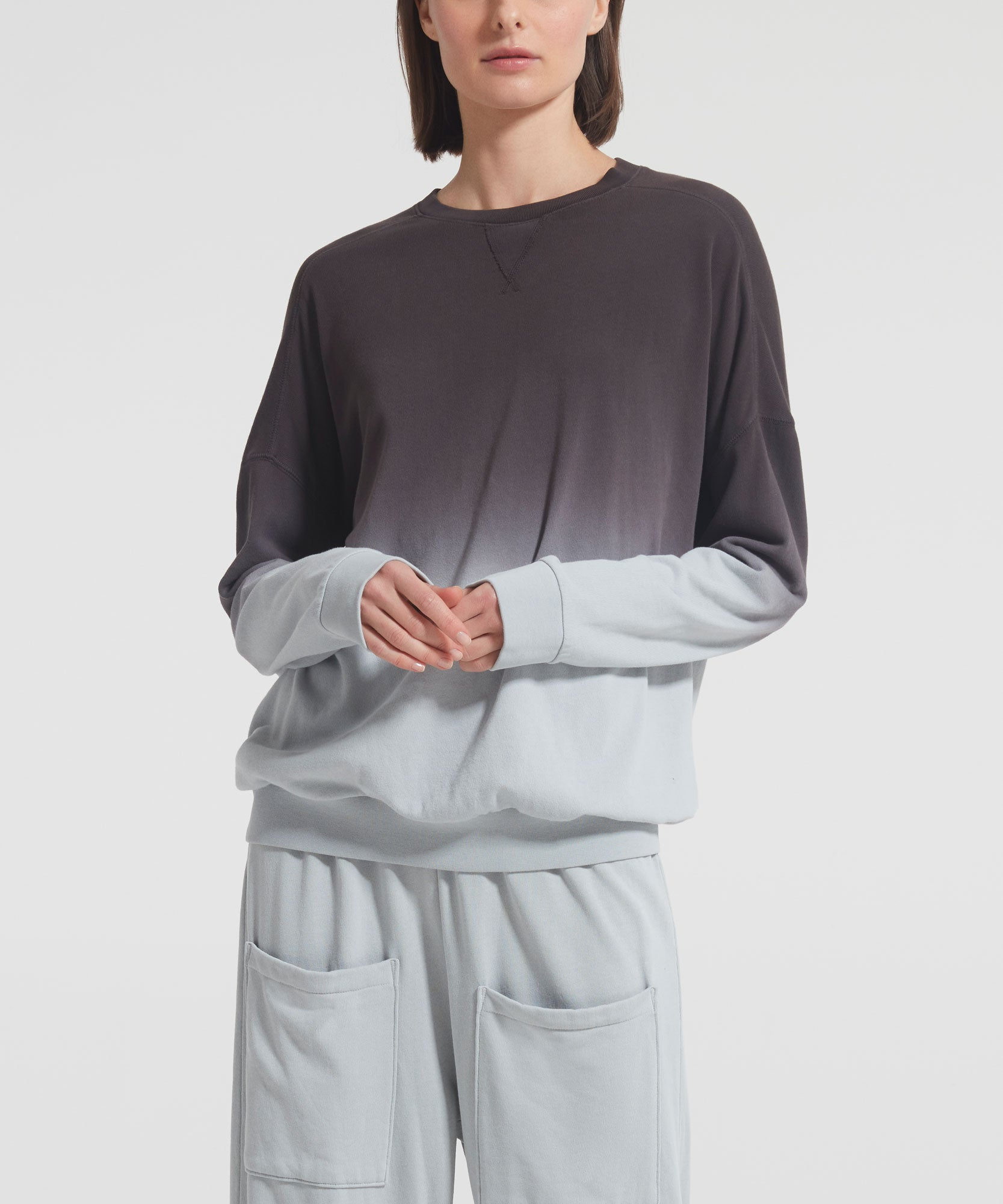 Dip Dye Sweatshirt - Women's Luxe Cotton Loungewear by ATM Anthony Thomas Melillo