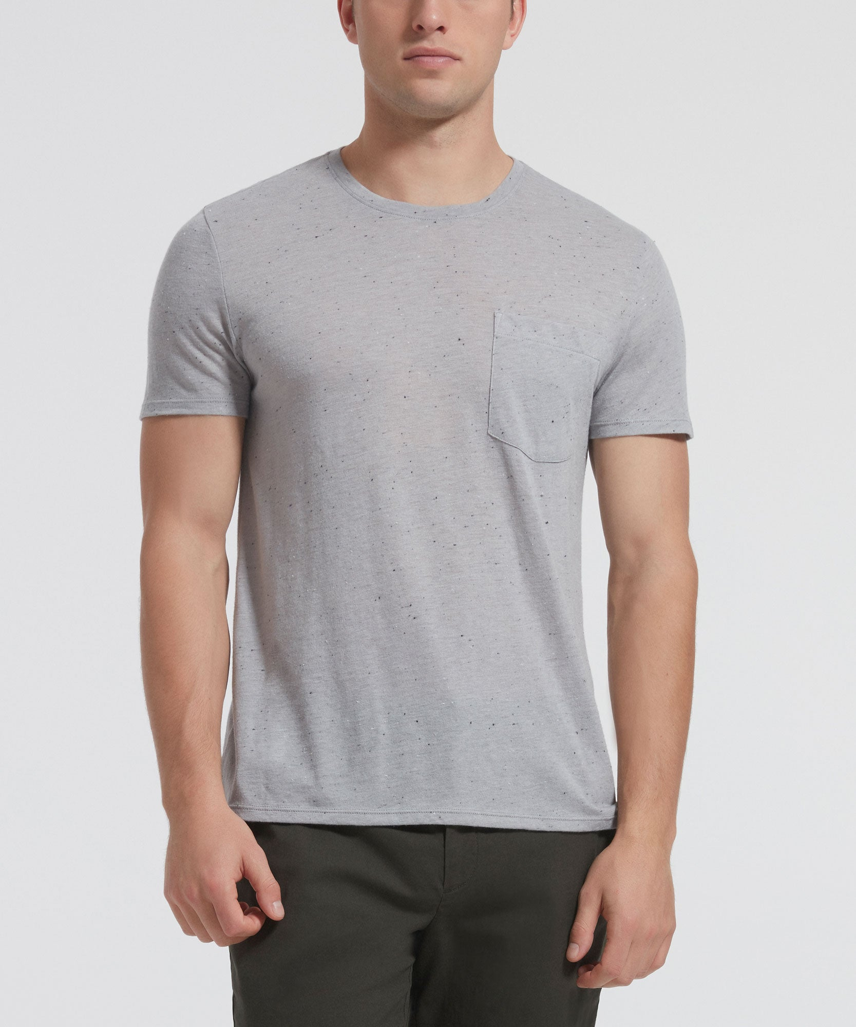 Grey Donegal Short Sleeve Crew Neck Pocket Tee - Men's Luxe Tee by ATM Anthony Thomas Melillo