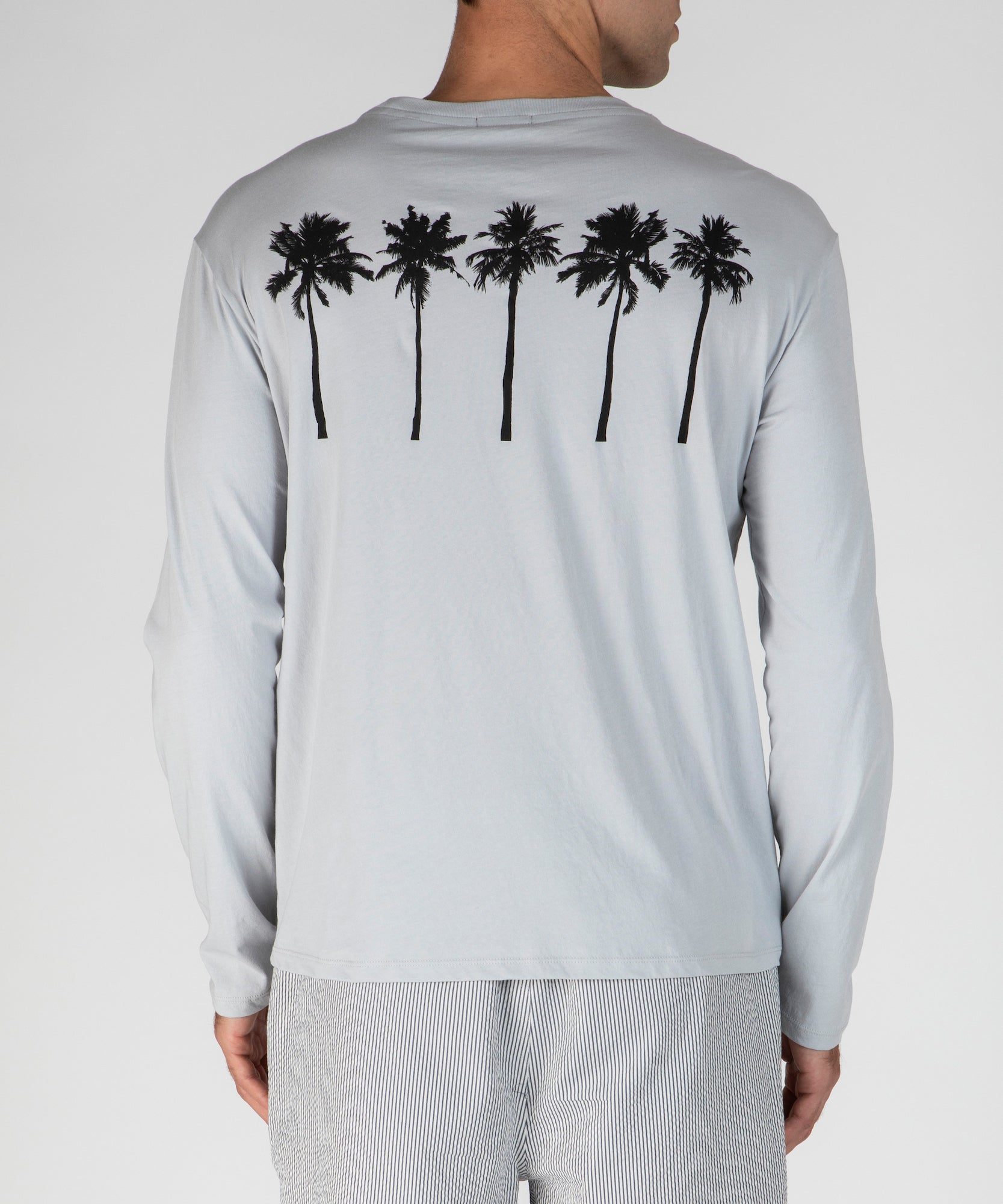 Grey Fog Classic Jersey Palm Print Long Sleeve Tee - Men's Cotton Long Sleeve Tee by ATM Anthony Thomas Melillo