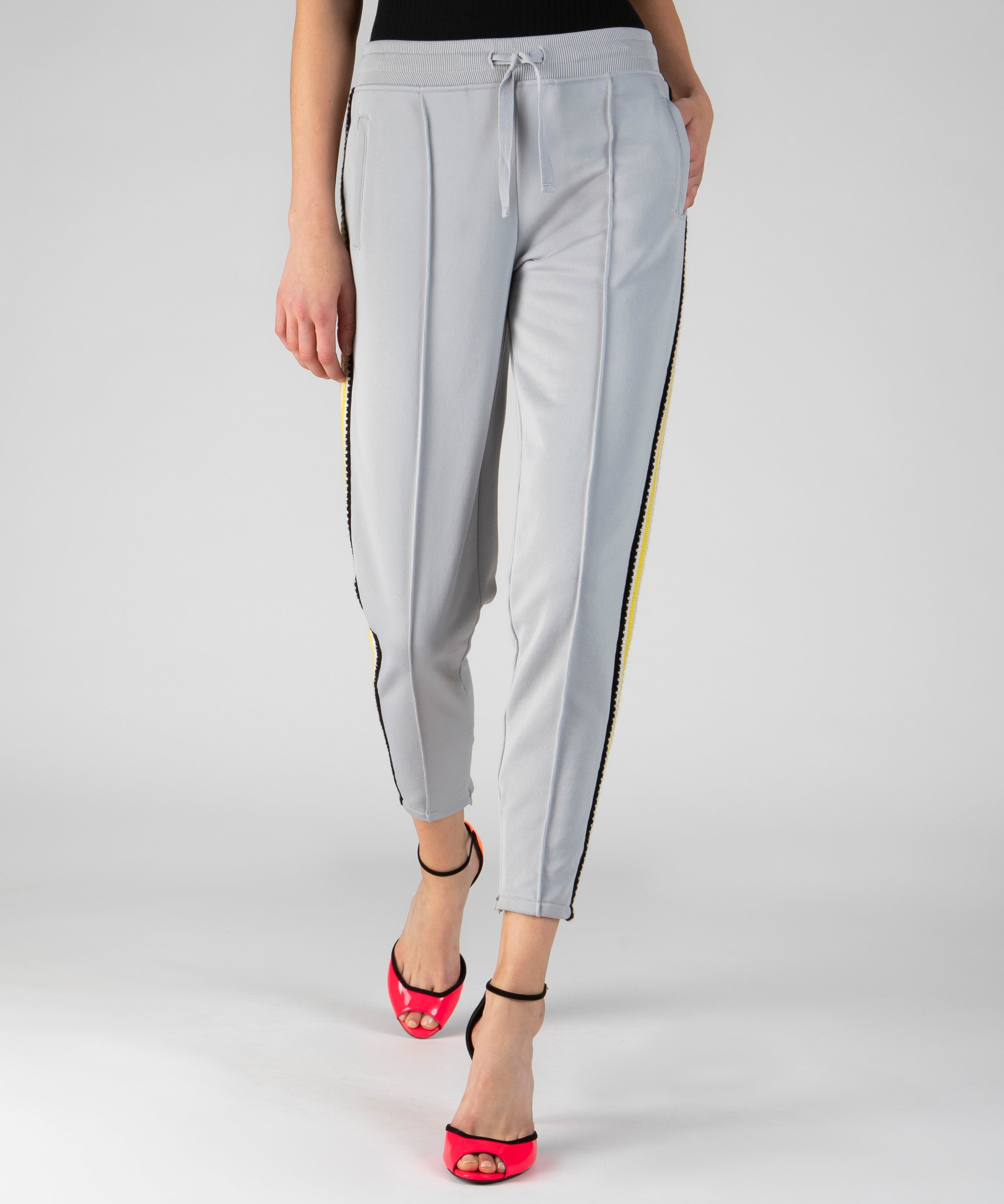 Grey Fog French Terry Crochet Trim Pull-On Pants - Women's Luxe Loungewear by ATM Anthony Thomas Melillo