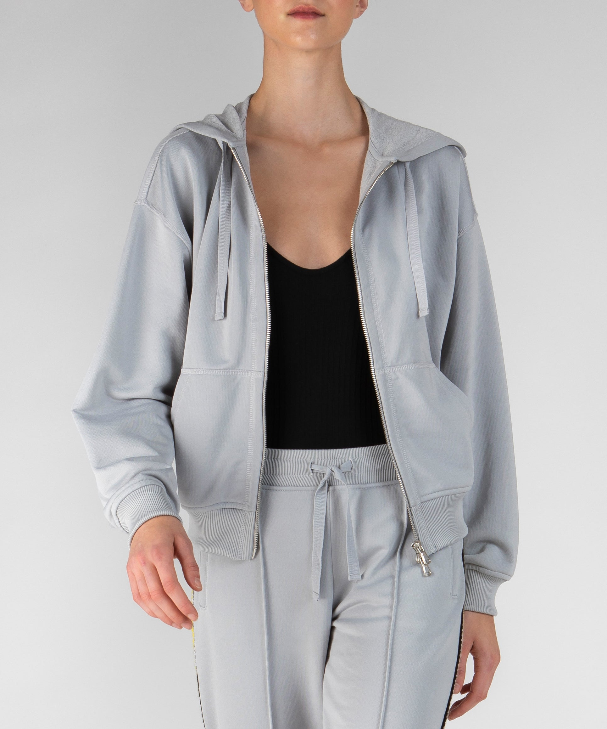 Grey Fog French Terry Racing Stripe Zip-Up Sweatshirt - Women's Luxe Loungewear by ATM Anthony Thomas Melillo