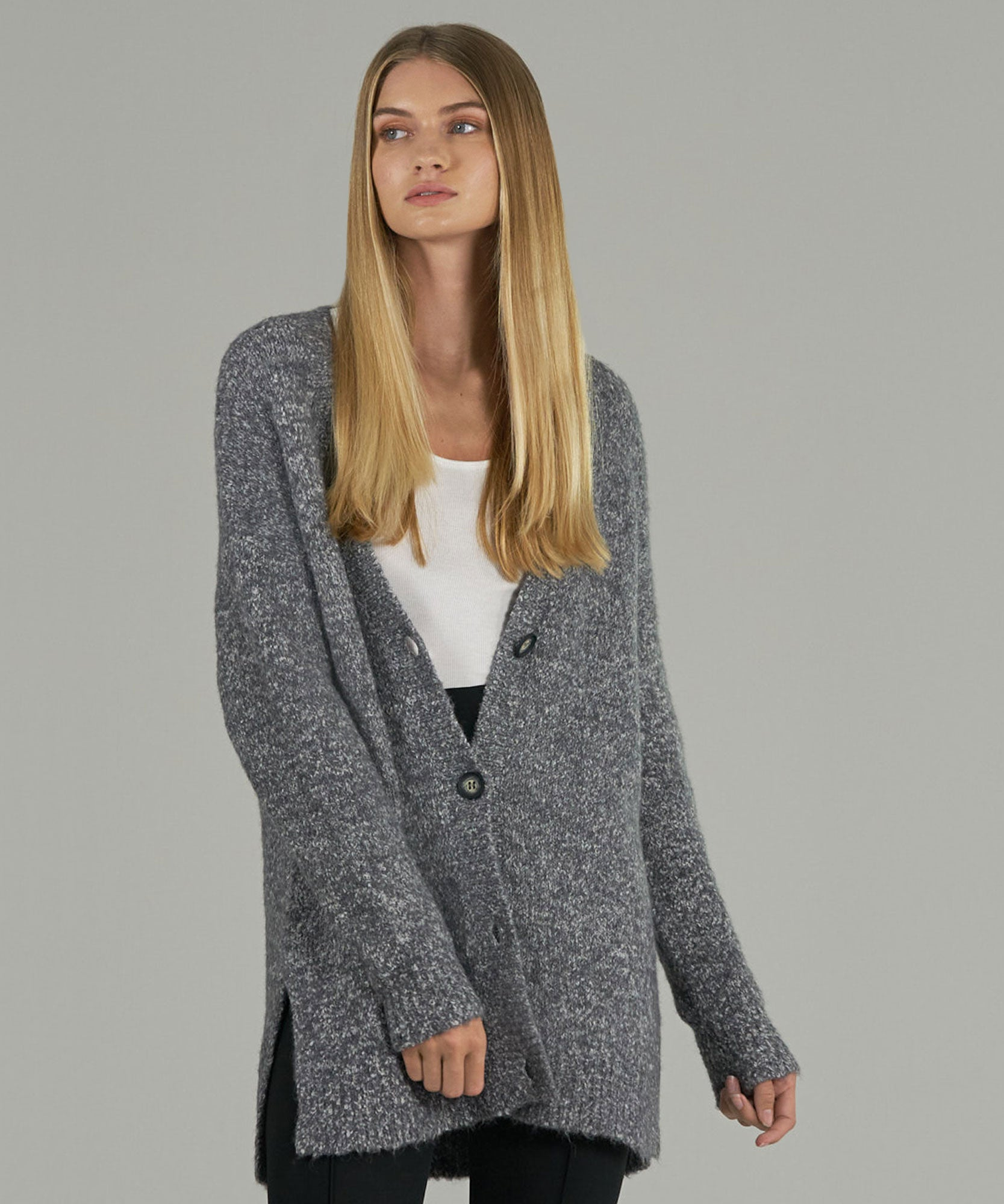 Grey Marled Cotton Blend Cardigan Sweater - Women's Sweater by ATM Anthony Thomas Melillo