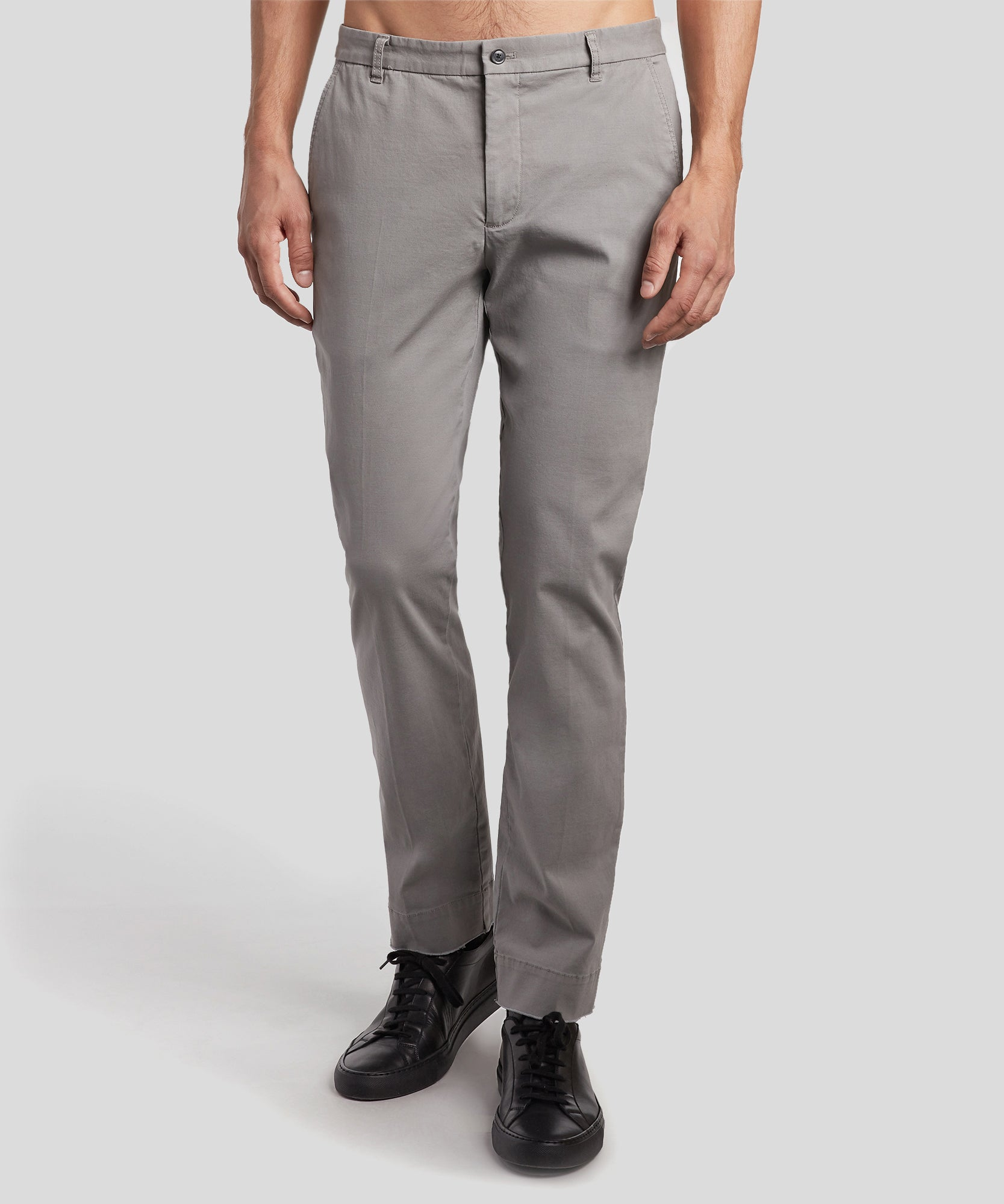 Grey Stretch Cotton Garment Wash Slim Pants - Men's Casual Pants by ATM Anthony Thomas Melillo
