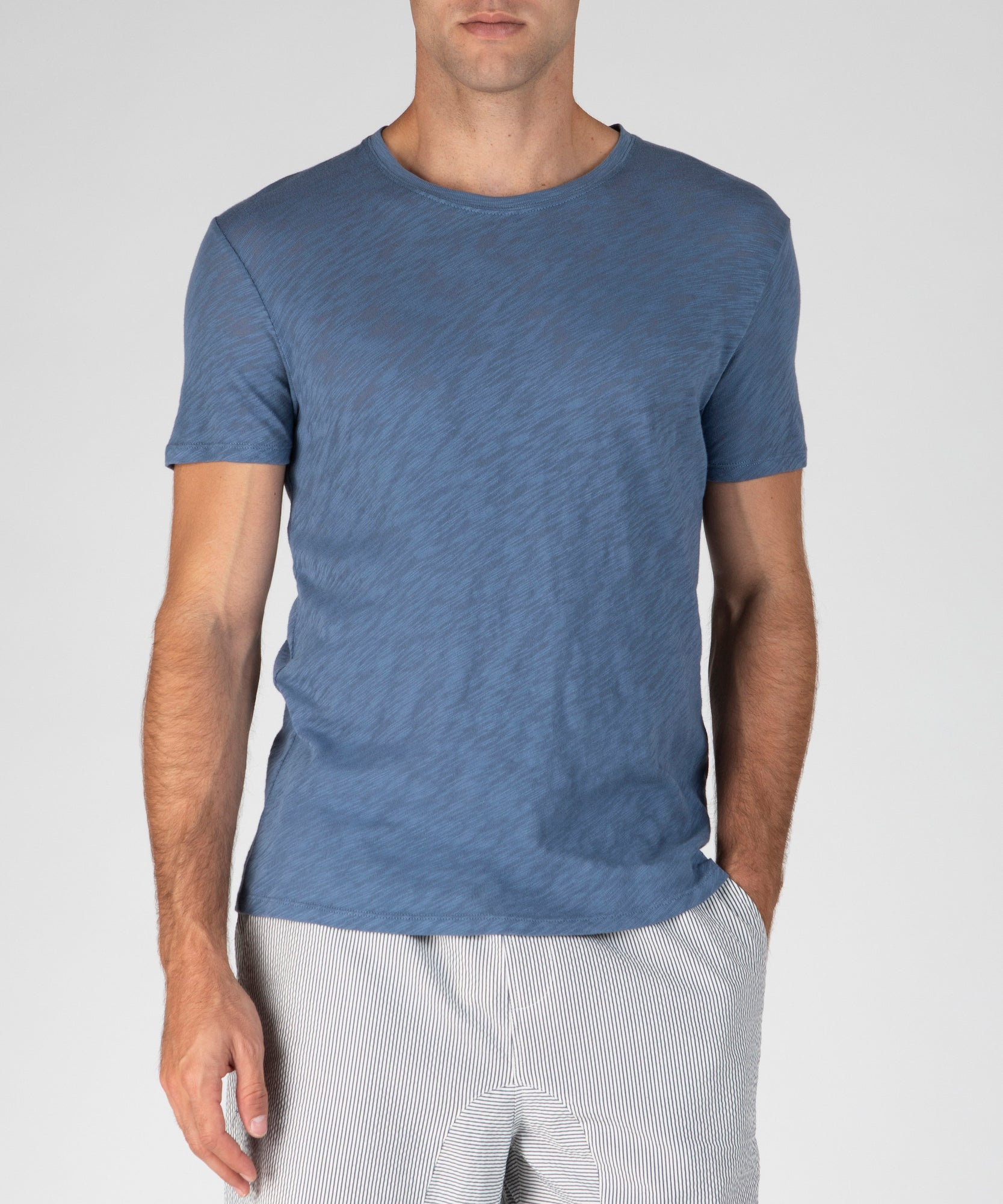 Harbour Blue Slub Jersey Crew Neck Tee - Men's Cotton Short Sleeve Tee by ATM Anthony Thomas Melillo