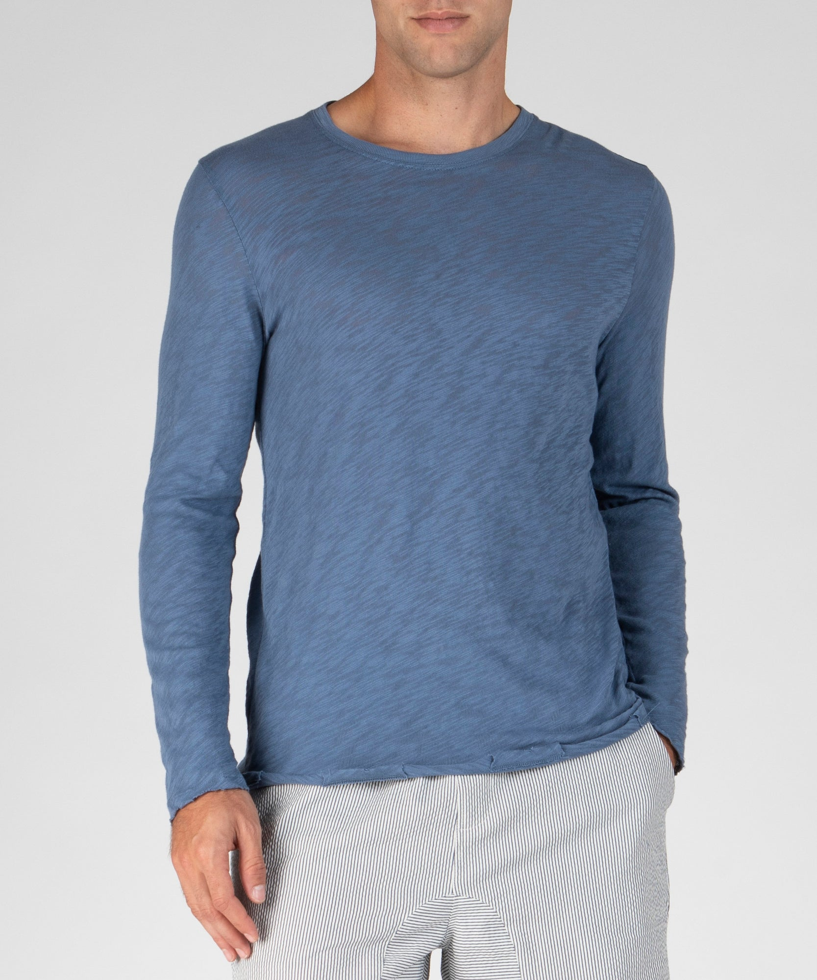 Harbour Blue Slub Jersey Destroyed Wash Tee - Men's Cotton Long Sleeve Tee by ATM Anthony Thomas Melillo