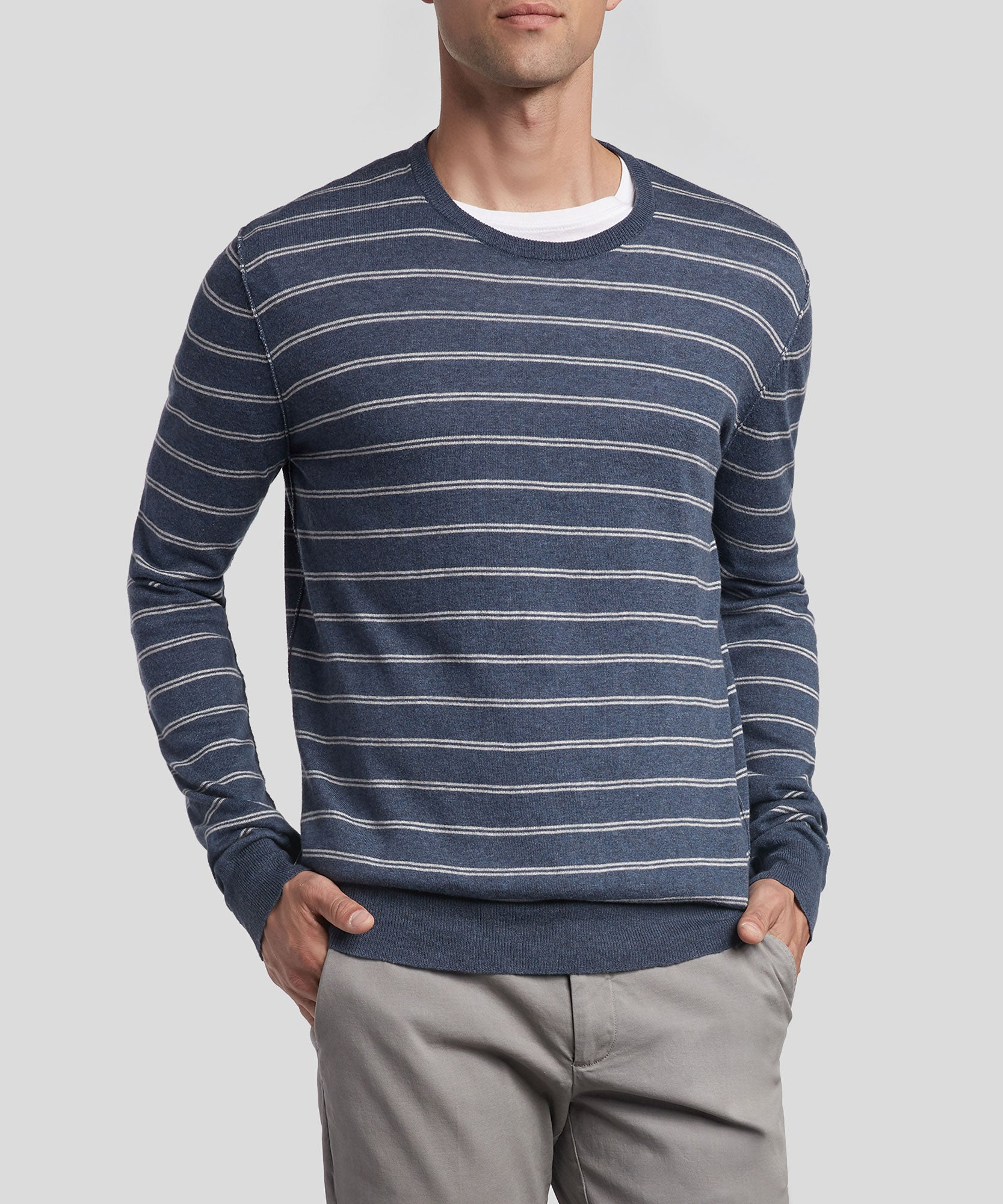 Blue and Grey Cotton Blend Double Striped Crew Neck Sweater - Men's Luxe Sweater by ATM Anthony Thomas Melillo