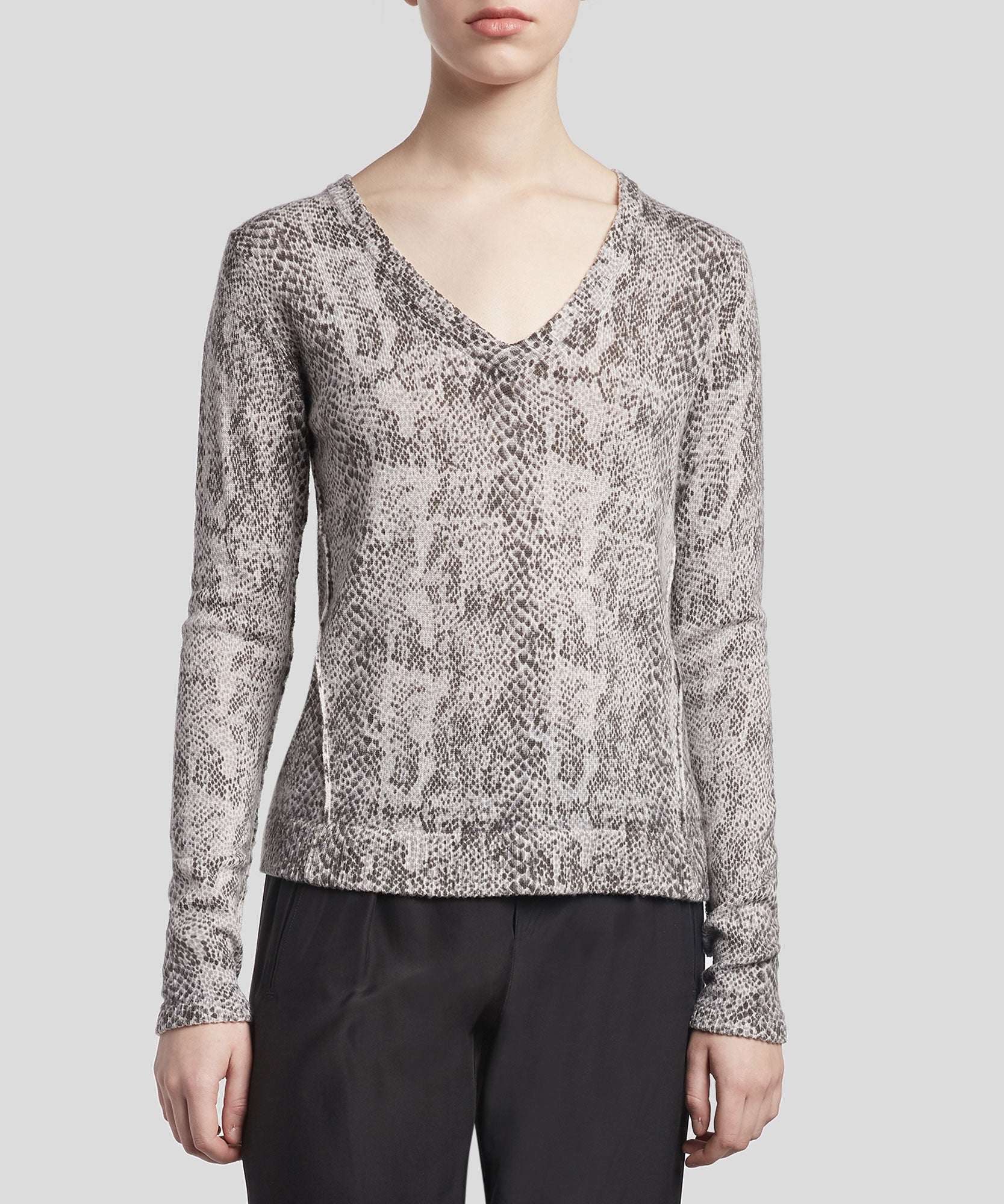 Haze and Pavement Combo Cashmere Blend Snake Print V-Neck Sweater - Women's Luxe Sweater by ATM Anthony Thomas Melillo
