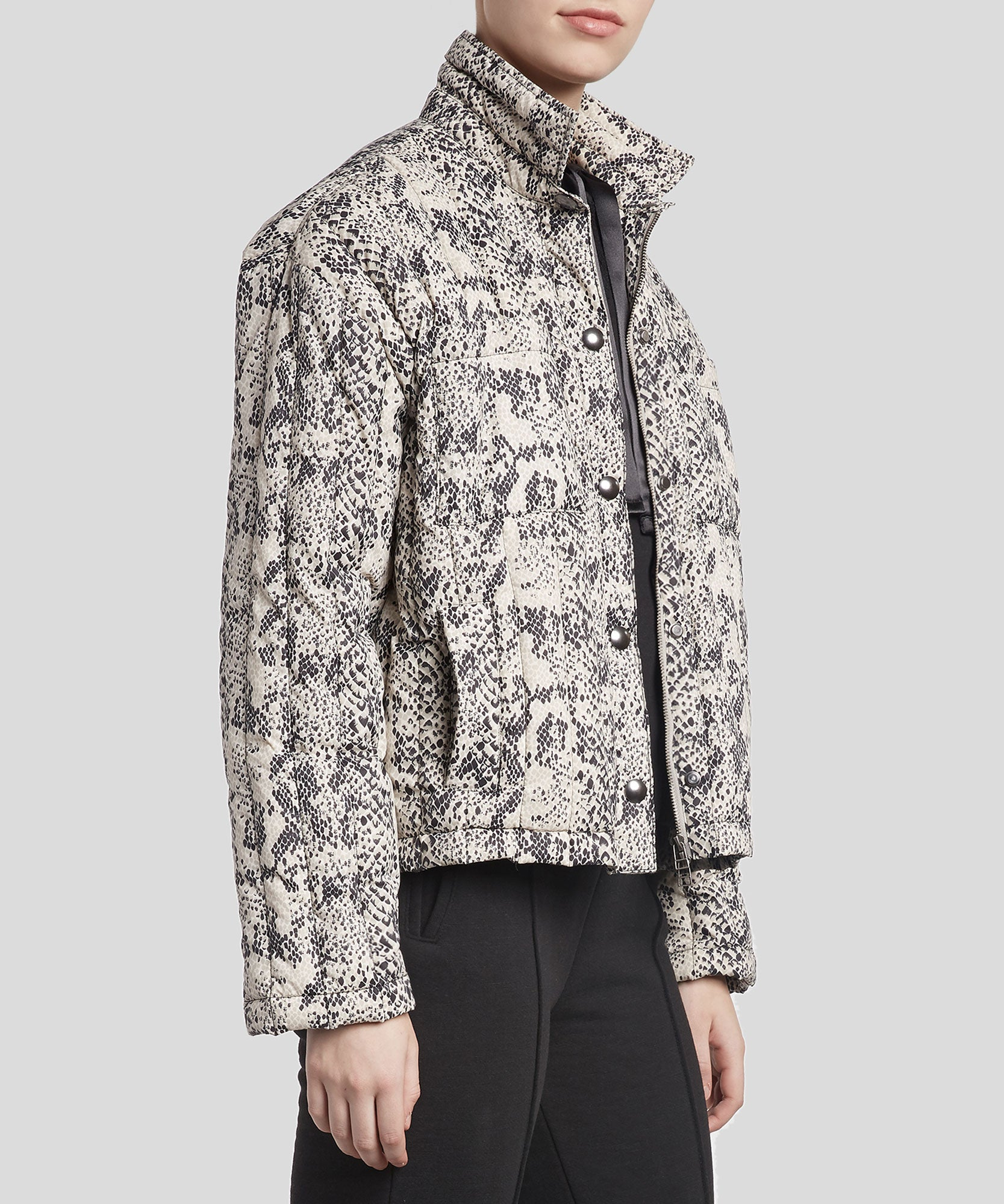Snake Print Down Puffer Boxy Jacket - Women's Casual Jacket by ATM Anthony Thomas Melillo