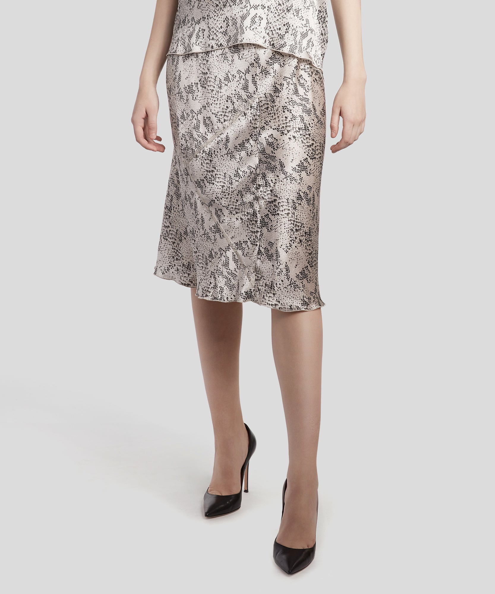 Haze and Pavement Combo Snake Print Silk Pull-On Skirt - Women's Silk Skirt by ATM Anthony Thomas Melillo