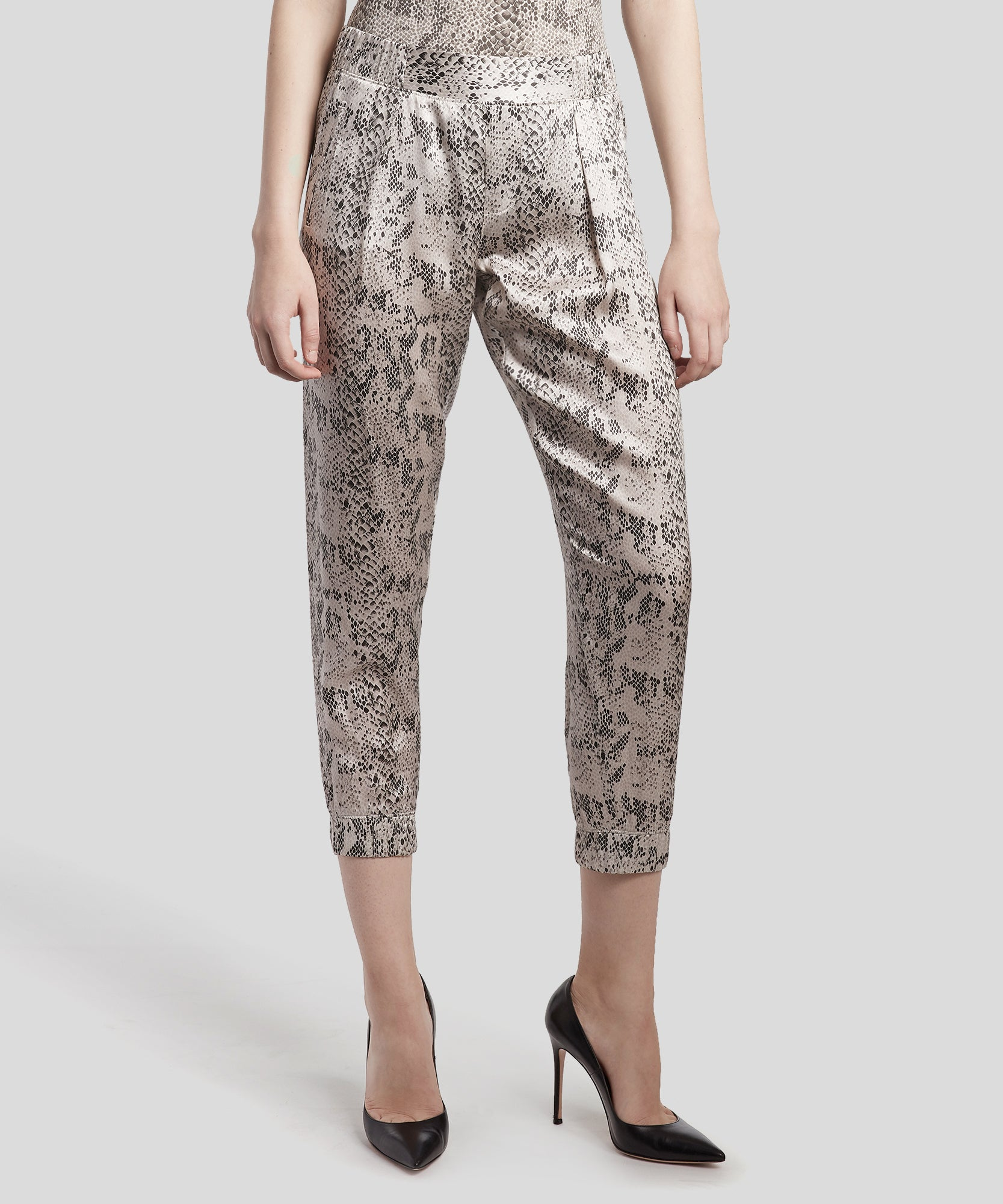 Haze and Pavement Combo Snake Print Silk Sweatpants - Women's Silk Sweatpants by ATM Anthony Thomas Melillo