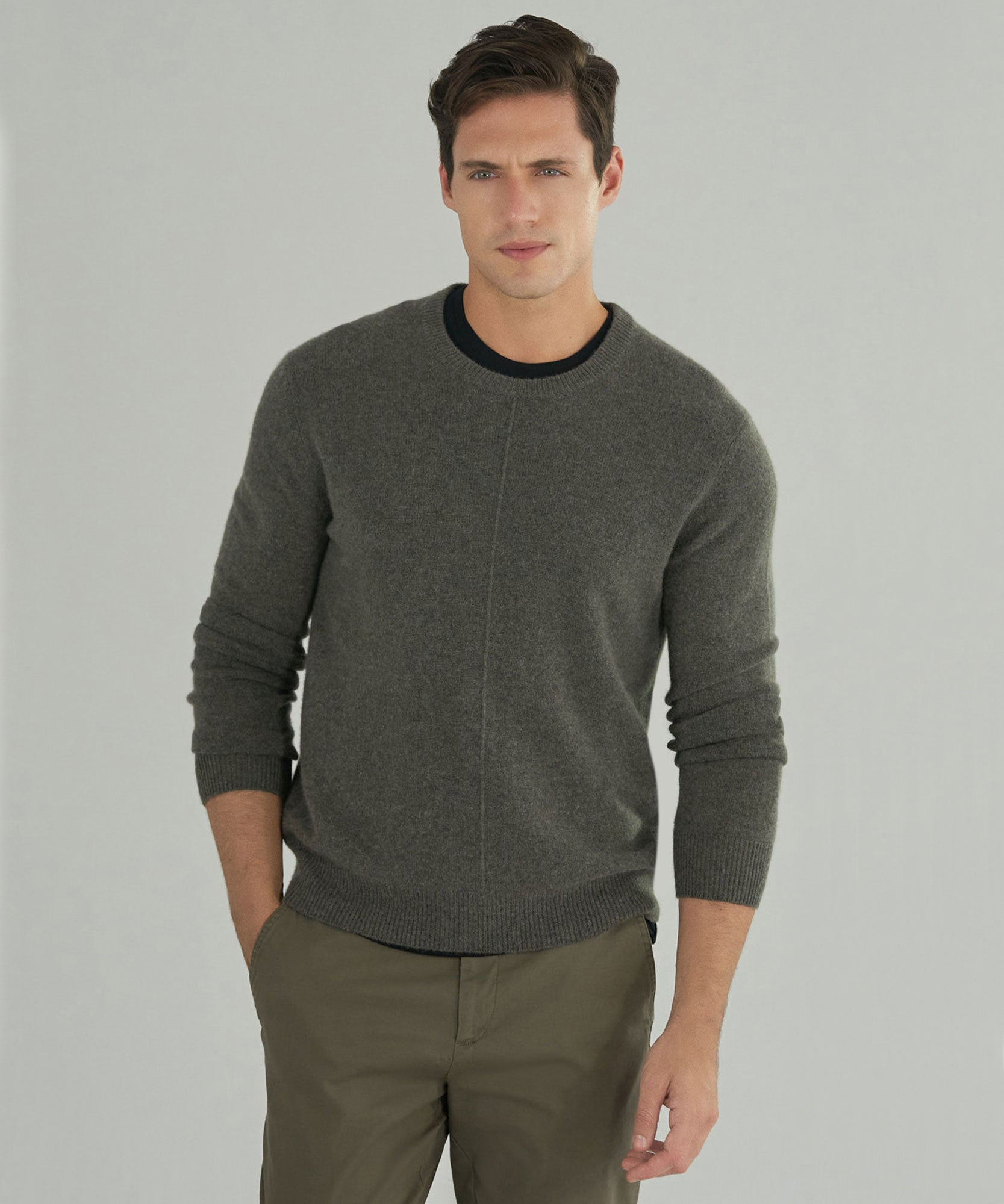 Heather Army Cashmere Exposed Seam Crew Neck Sweater - Men's Sweater by ATM Anthony Thomas Melillo