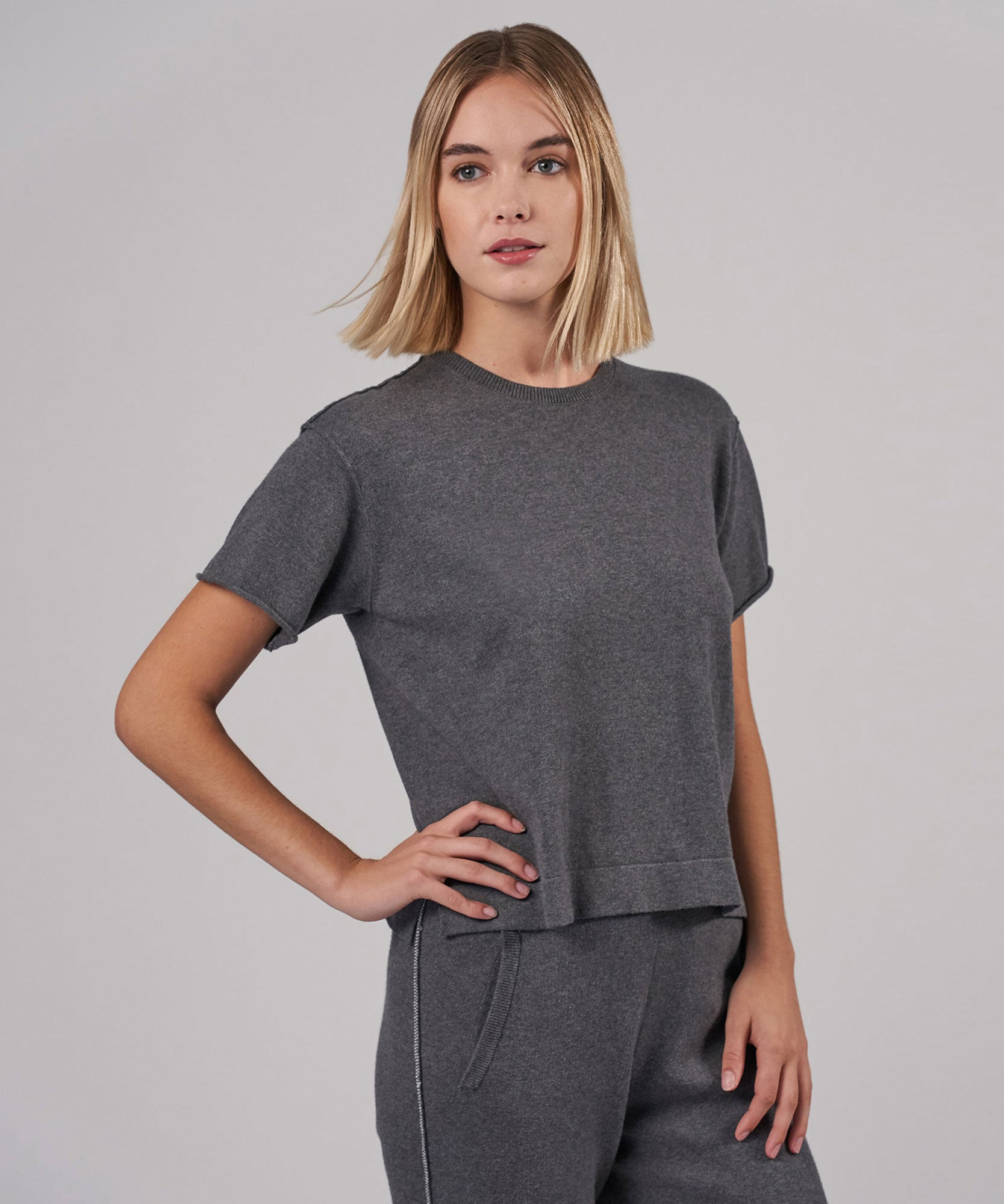 Heather Charcoal Cotton Cashmere Sweater Tee - Women's Short Sleeve Shirt by ATM Anthony Thomas Melillo