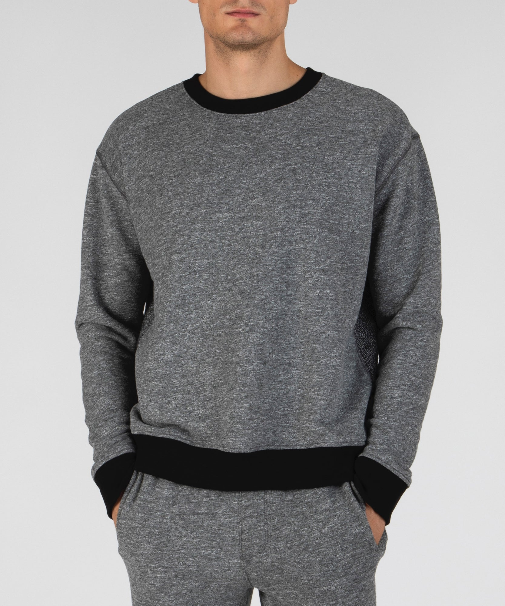 Heather Charcoal French Terry Contrast Rib Sweatshirt - Men's Luxe Loungewear by ATM Anthony Thomas Melillo
