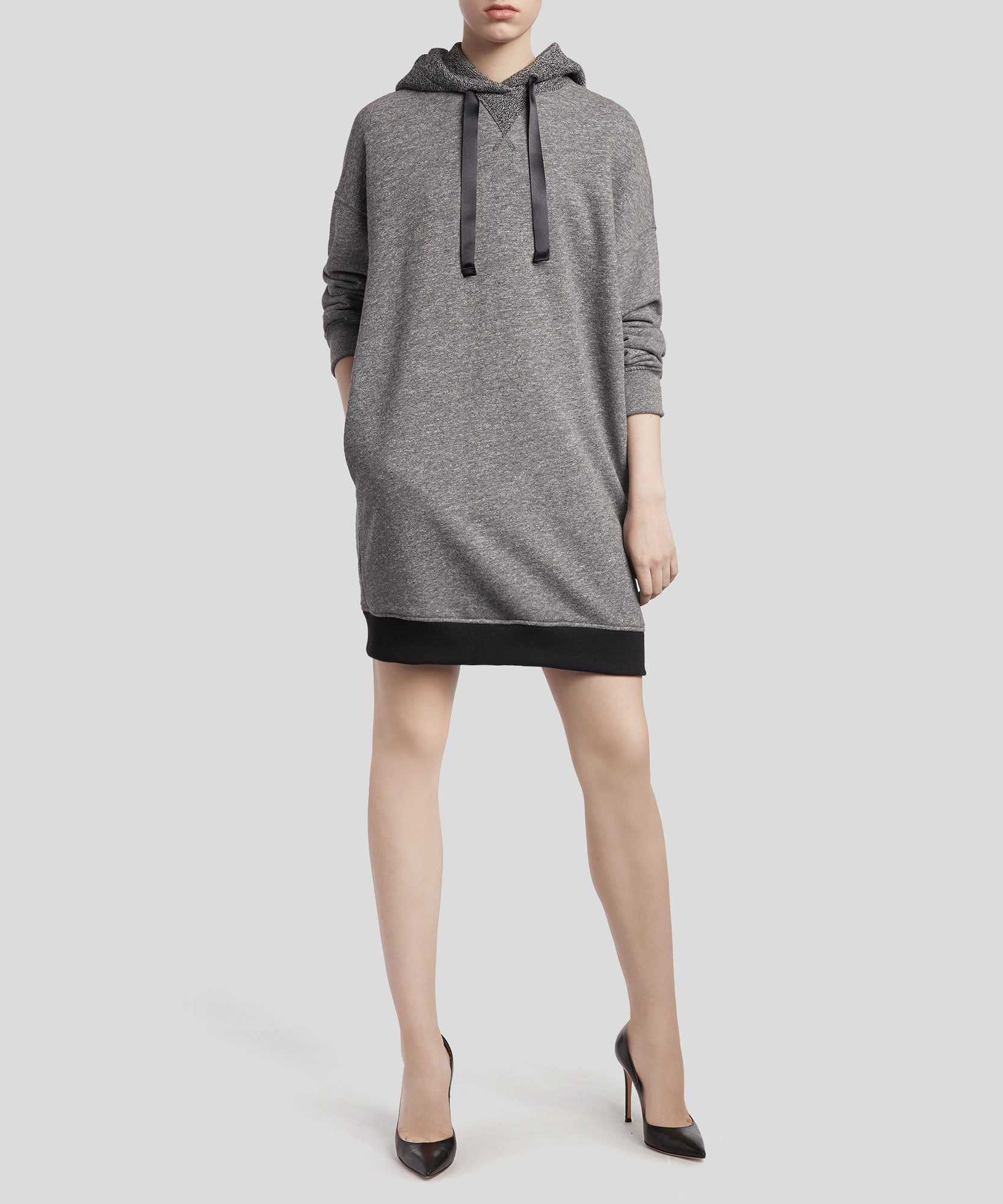 Heather Charcoal French Terry Hoodie Dress - Women's Casual Dress by ATM Anthony Thomas Melillo