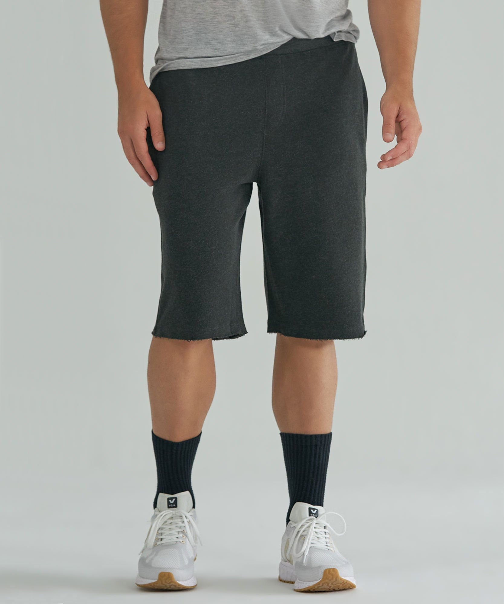 Heather Charcoal Raw Hem French Terry Pull-On Shorts - Men's Luxe Loungewear by ATM Anthony Thomas Melillo
