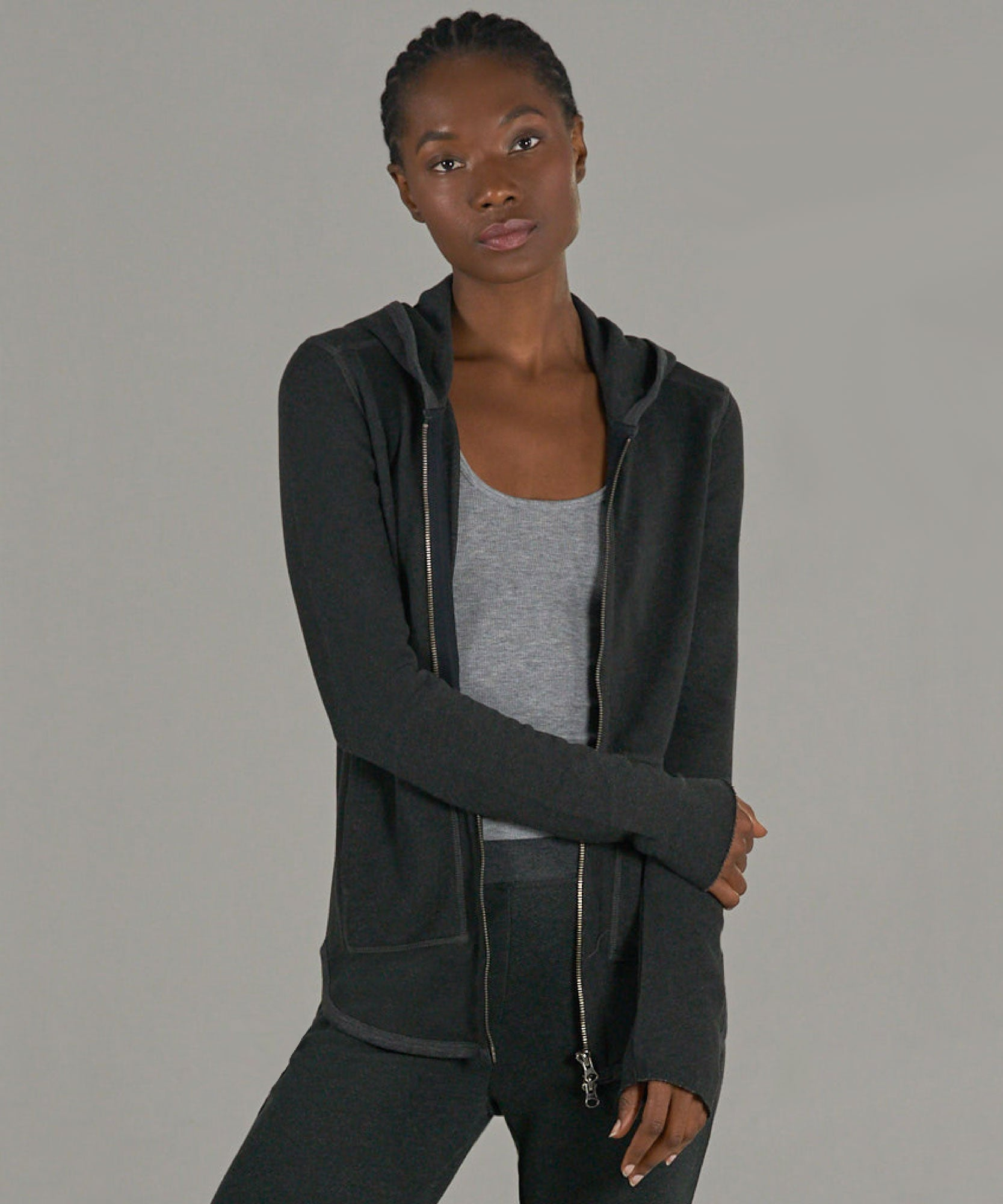 Heather Charcoal French Terry Zip-Up Hoodie - Women's Luxe Loungewear by ATM Anthony Thomas Melillo