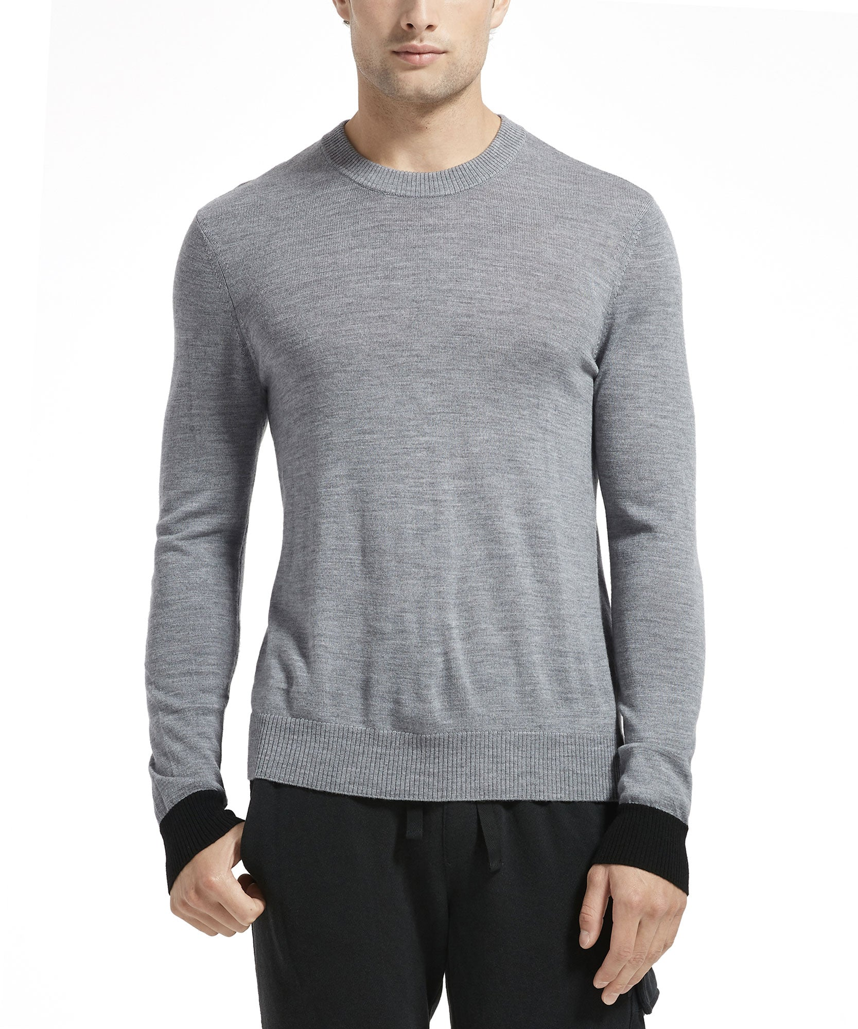 Heather Grey Merino Wool Contrast Cuff Crew Neck Sweater - Men's Luxury Sweater by ATM Anthony Thomas Melillo
