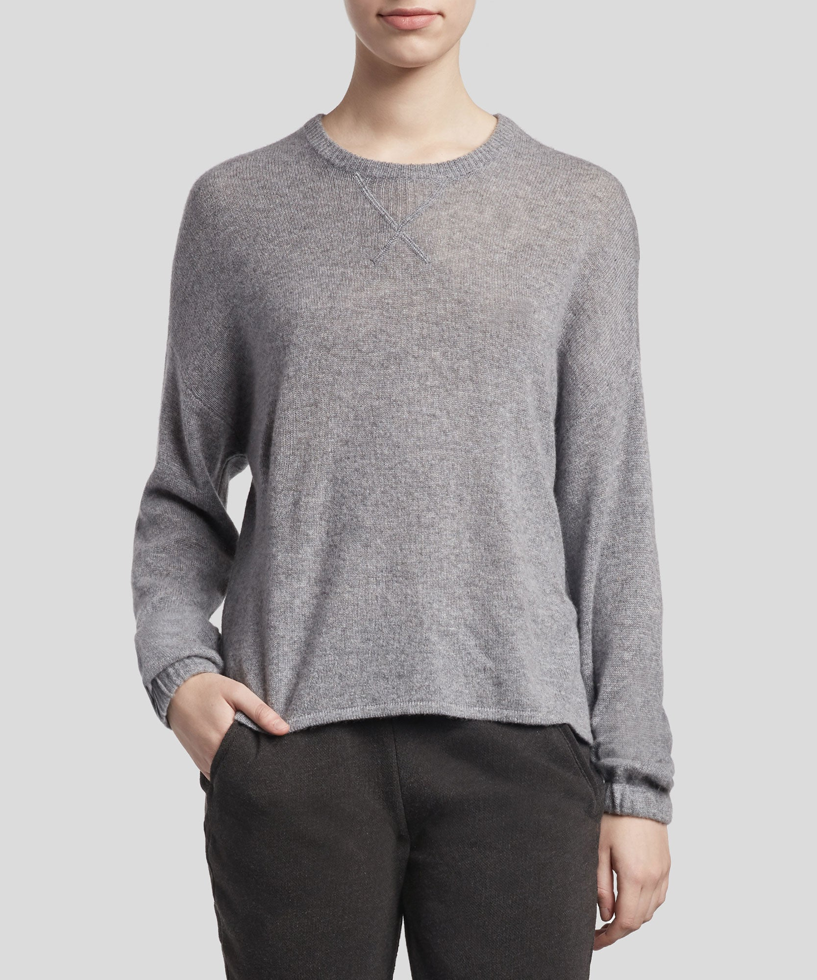 Heather Grey Cashmere Crew Neck Sweater - Women's Luxe Sweater by ATM Anthony Thomas Melillo