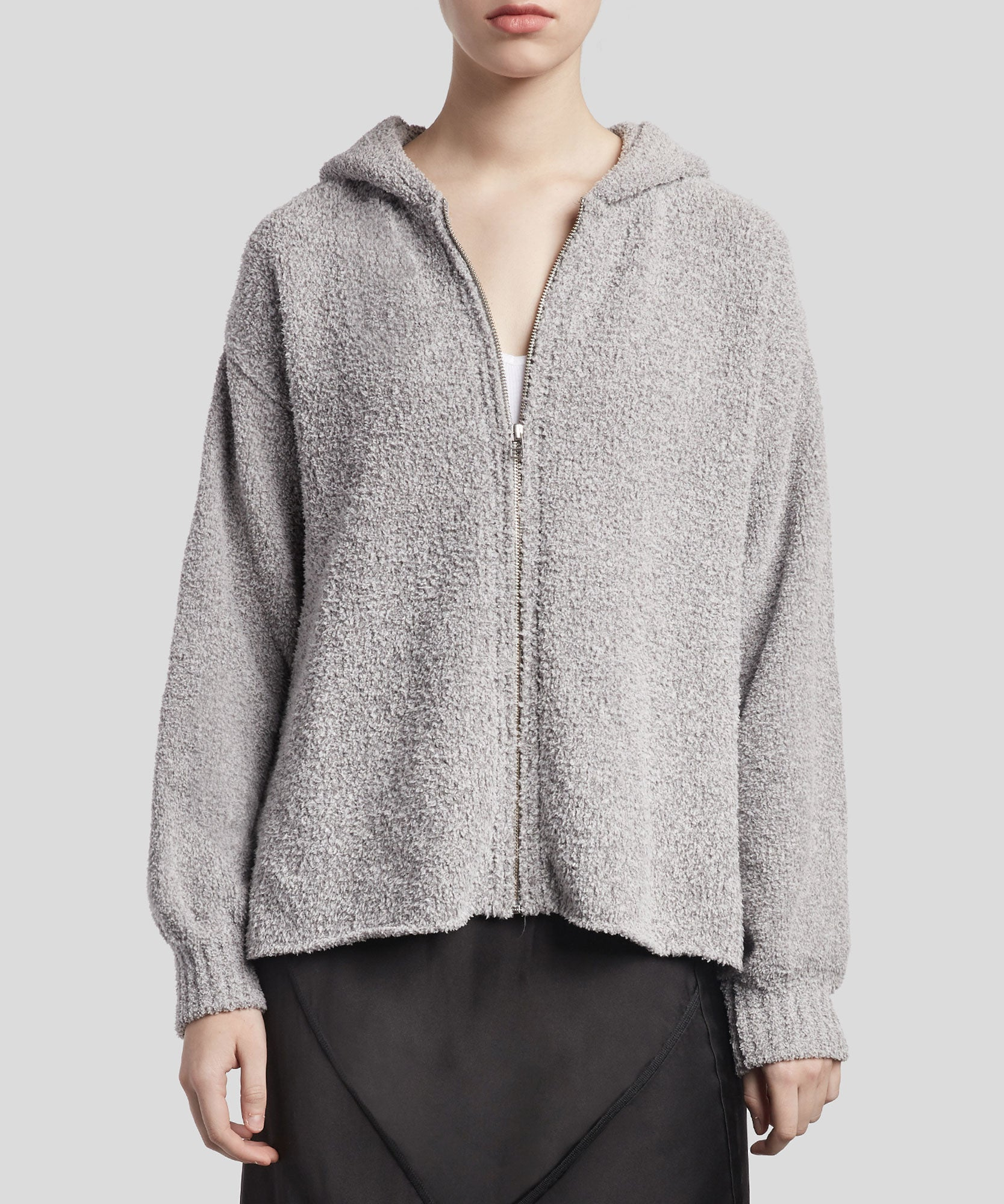 Heather Grey Chenille Zip-Up Hoodie - Women's Luxe Hoodie by ATM Anthony Thomas Melillo