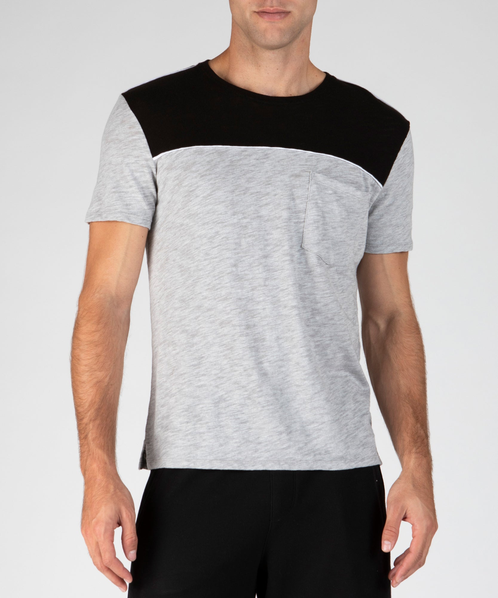 Heather Grey and Black Slub Jersey Colorblock Short Sleeve Crew Neck Tee - Men's Cotton Short Sleeve Tee by ATM Anthony Thomas Melillo
