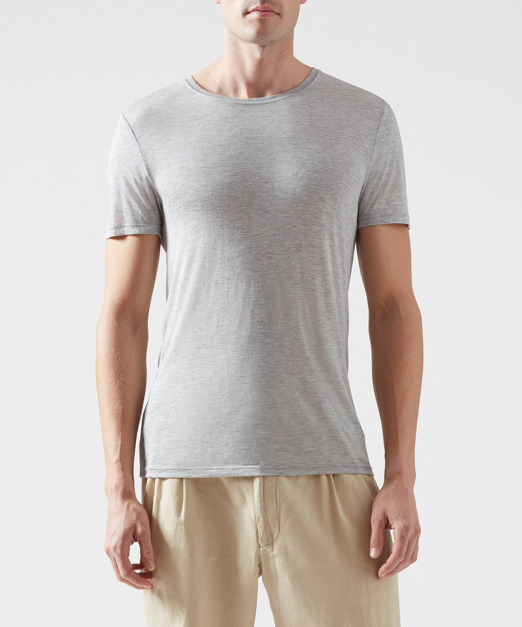 Heather Grey Modal Jersey Crew Neck Tee - Men's Jersey Short Sleeve Tee by ATM Anthony Thomas Melillo