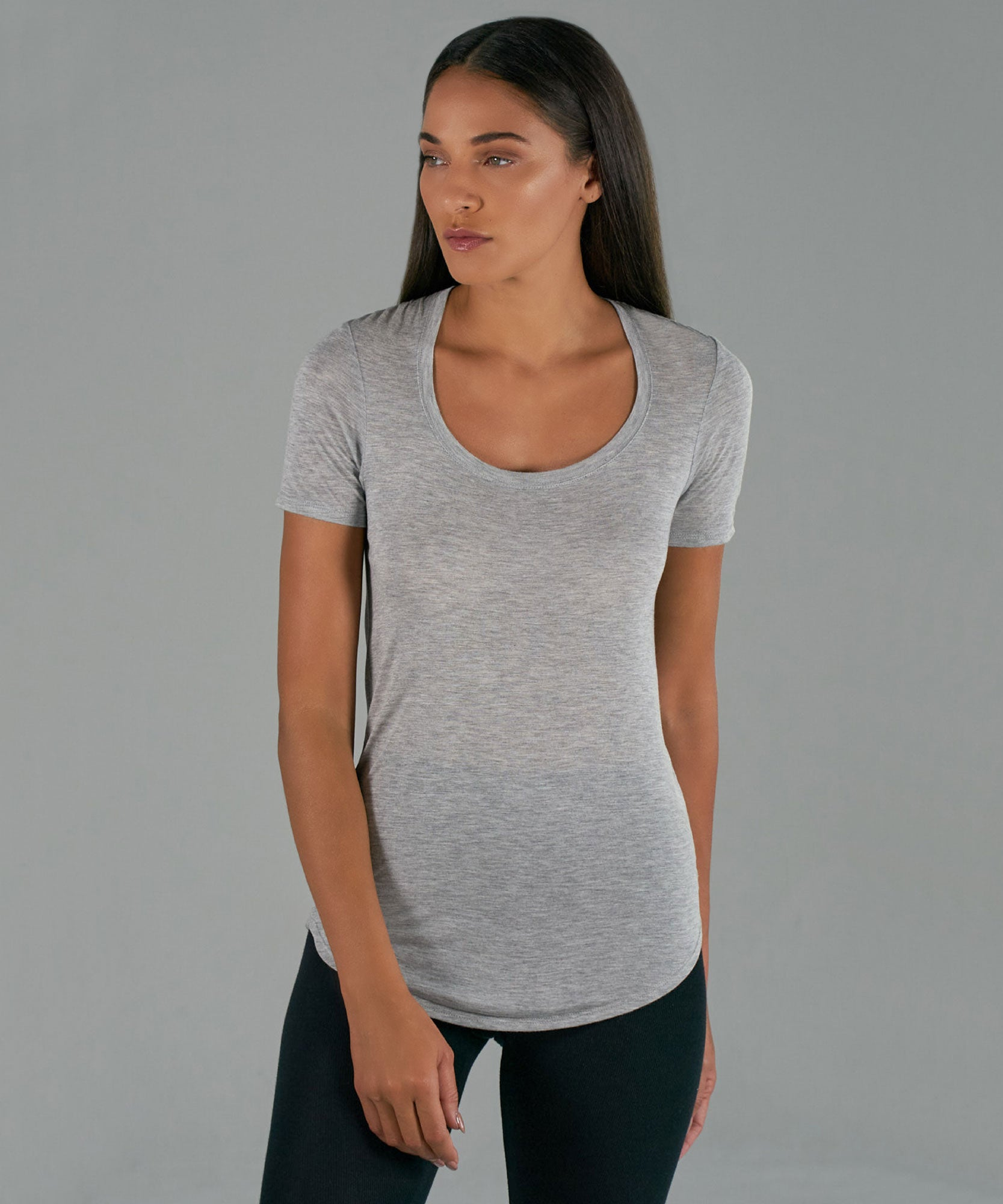 Heather Grey Modal Jersey Sweetheart Tee - Women's Jersey Tee by ATM Anthony Thomas Melillo