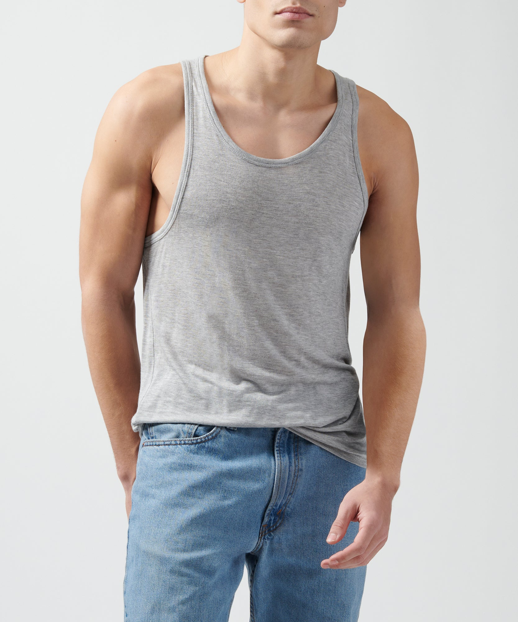 Heather Grey Modal Jersey Tank - Men's Jersey Tank Top by ATM Anthony Thomas Melillo
