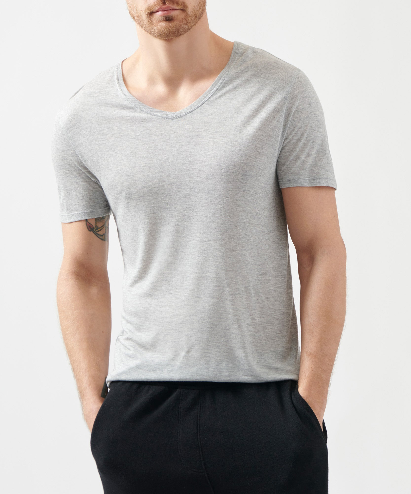 Heather Grey Modal Jersey V-Neck Tee - Men's Jersey Short Sleeve Tee by ATM Anthony Thomas Melillo