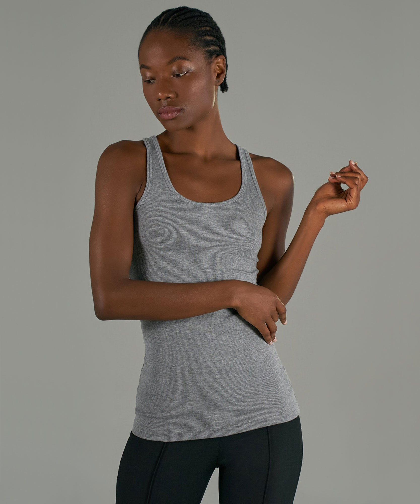 Heather Grey Modal Rib Boy Tank - Women's Luxe Ribbed Tank by ATM Anthony Thomas Melillo