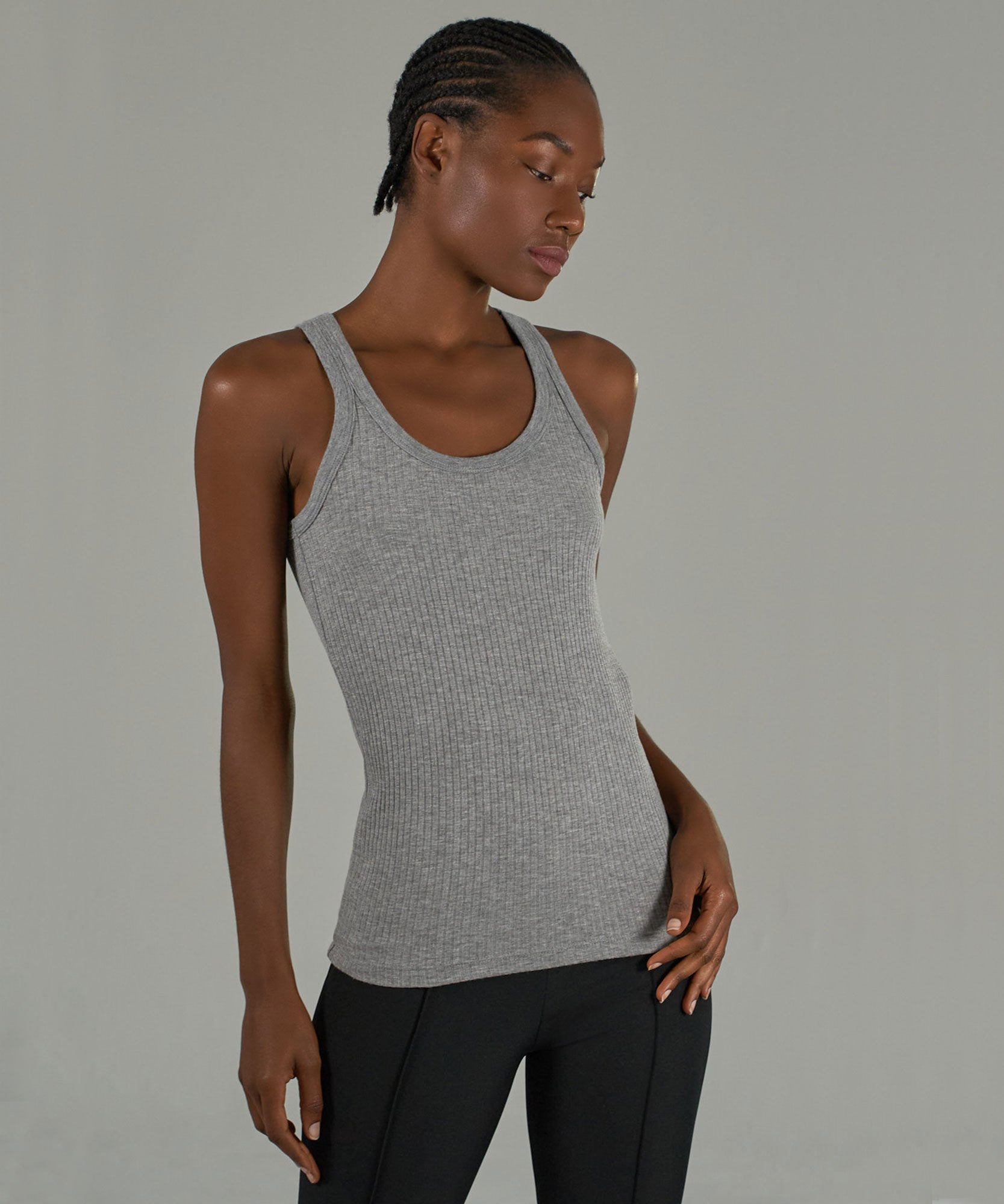 Heather Grey Modal Wide Rib Boy Tank - Women's Tank by ATM Anthony Thomas Melillo