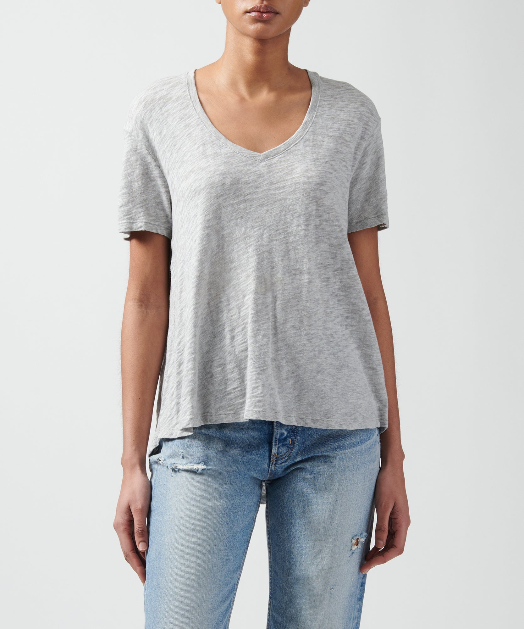Heather Grey Slub Jersey Boyfriend V-Neck Tee - Women's Cotton Short Sleeve Tee by ATM Anthony Thomas Melillo