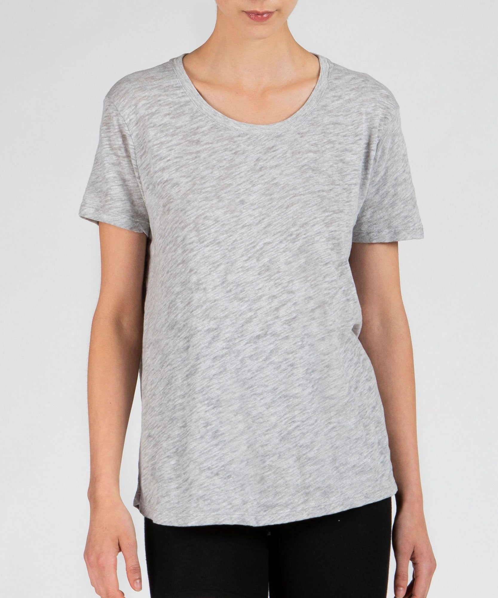 Heather Grey Slub Jersey Boyfriend Crew Neck Tee - Women's Cotton Short Sleeve Tee by ATM Anthony Thomas Melillo