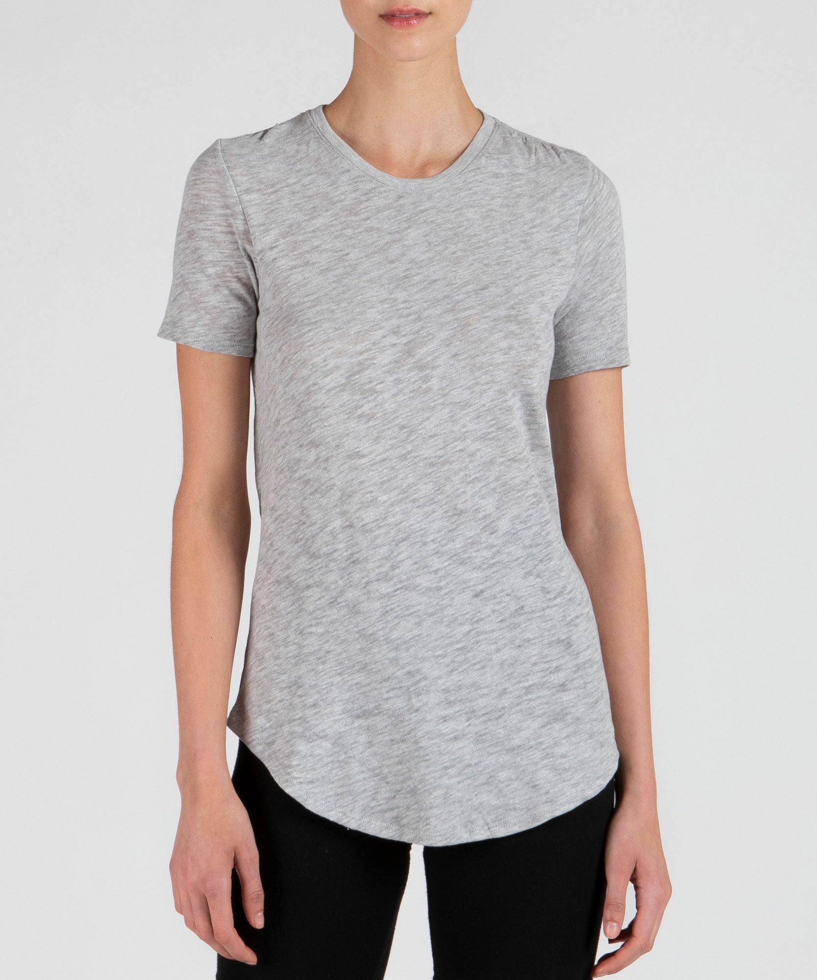 Heather Grey Slub Jersey Crew Neck Tee - Women's Cotton Short Sleeve Tee by ATM Anthony Thomas Melillo