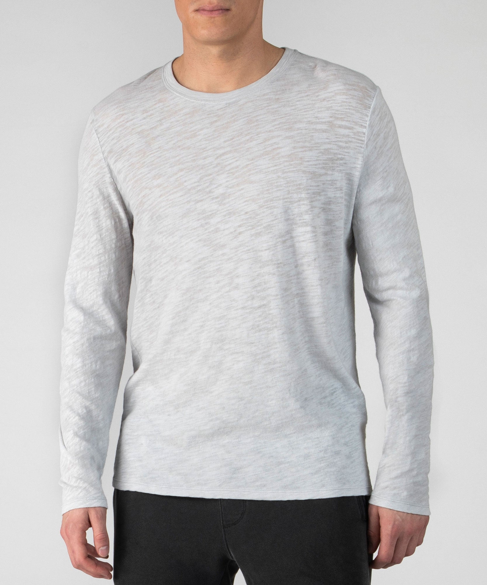 Heather Grey Slub Jersey Long Sleeve Crew Neck Tee - Men's Cotton Long Sleeve Tee by ATM Anthony Thomas Melillo
