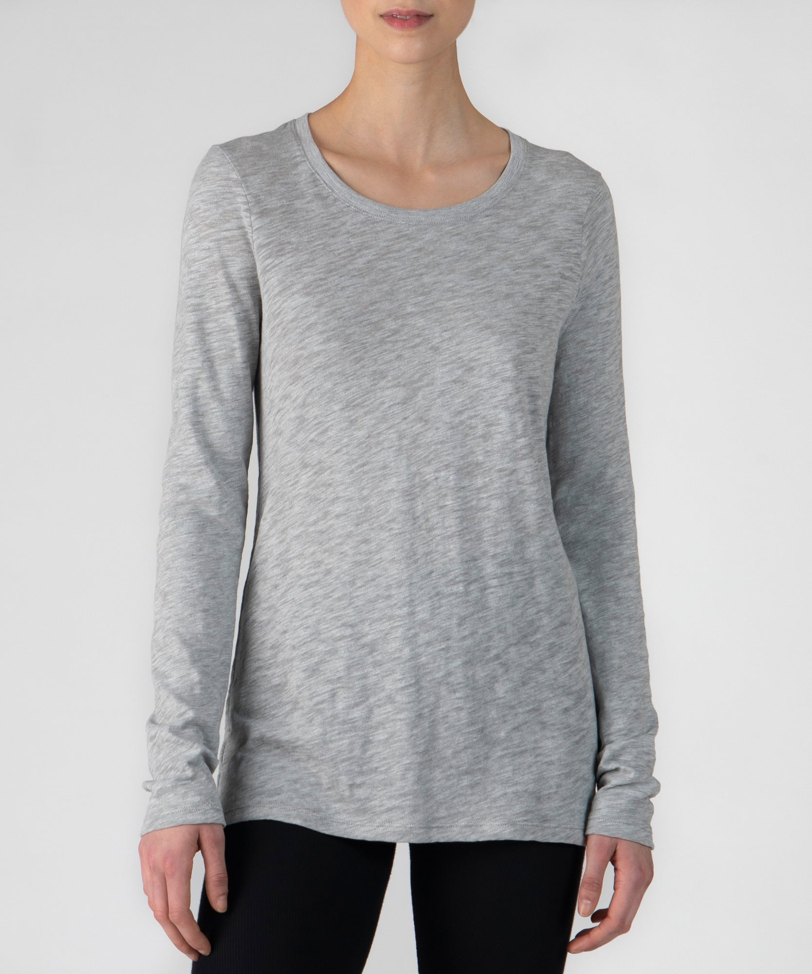 Heather Grey Slub Jersey Long Sleeve Crew Neck Tee - Women's Cotton Long Sleeve T-shirt by ATM Anthony Thomas Melillo