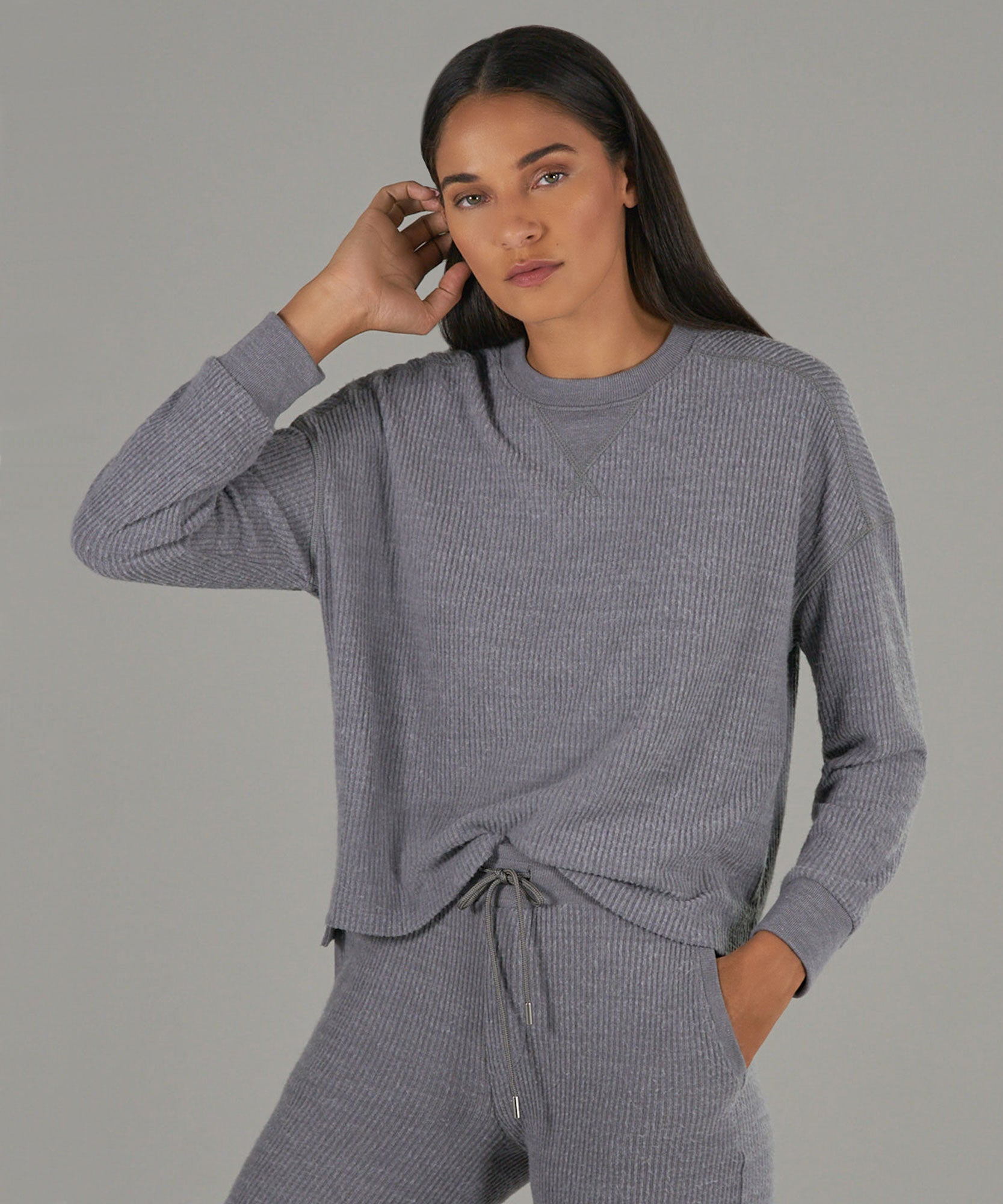 Heather Grey Waffle Crew Neck Sweatshirt - Women's Sweatshirt by ATM Anthony Thomas