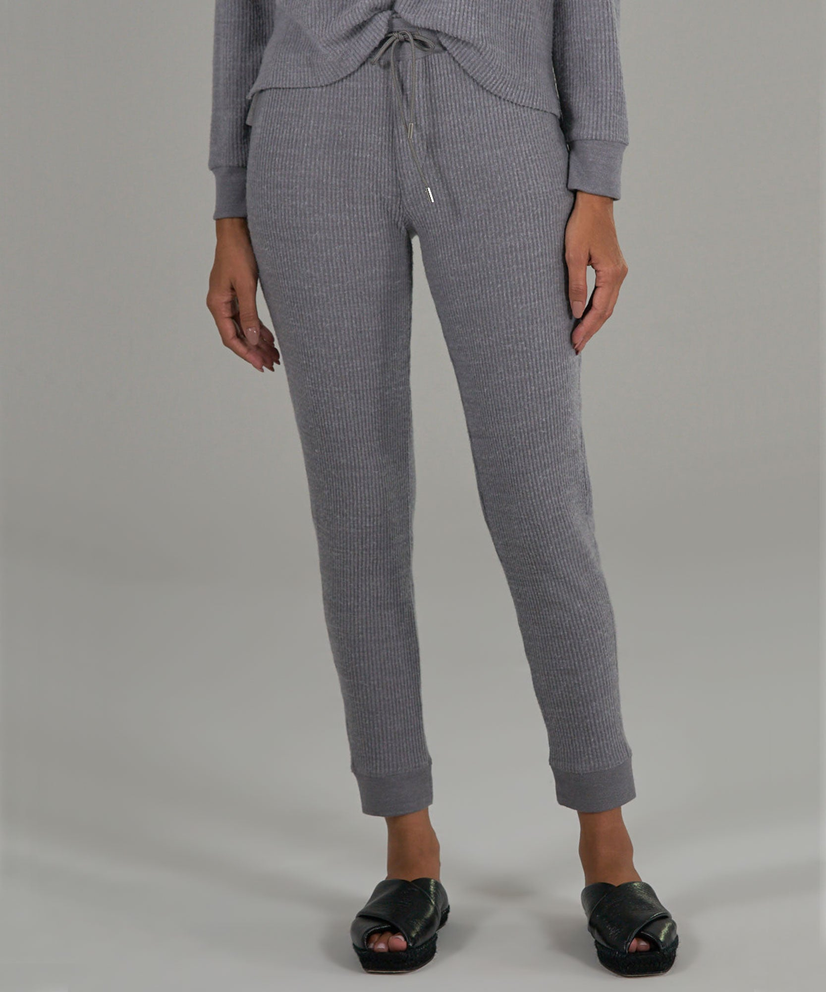 Heather Grey Waffle Pull-On Pants - Women's Pants by ATM Anthony Thomas Melillo