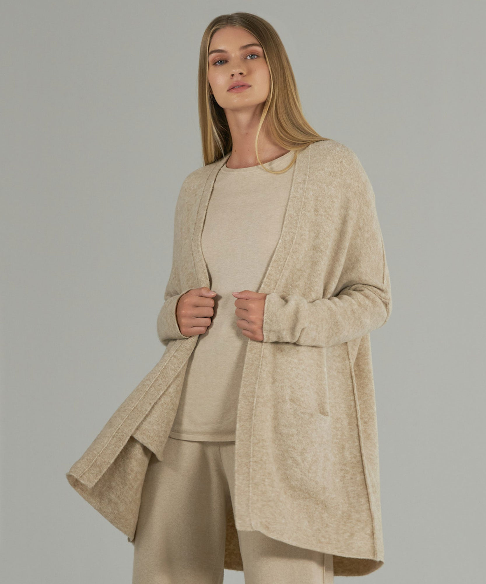 Heather Oatmeal Wool Blend Sweater Coat - Women's Sweater by ATM Anthony Thomas Melillo