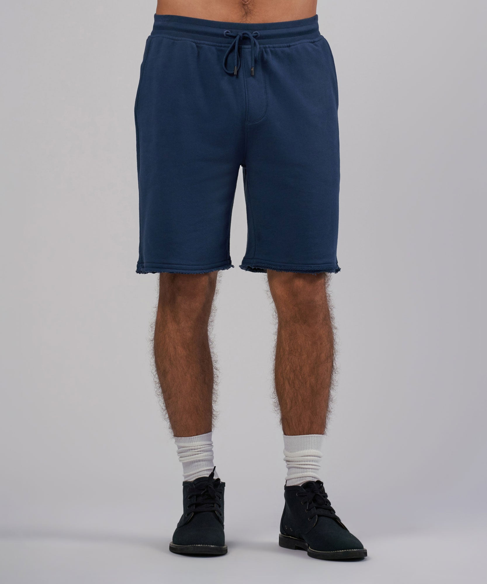 Indigo French Terry Slim Pull-On Shorts - Men's Luxe Loungewear by ATM Anthony Thomas Melillo