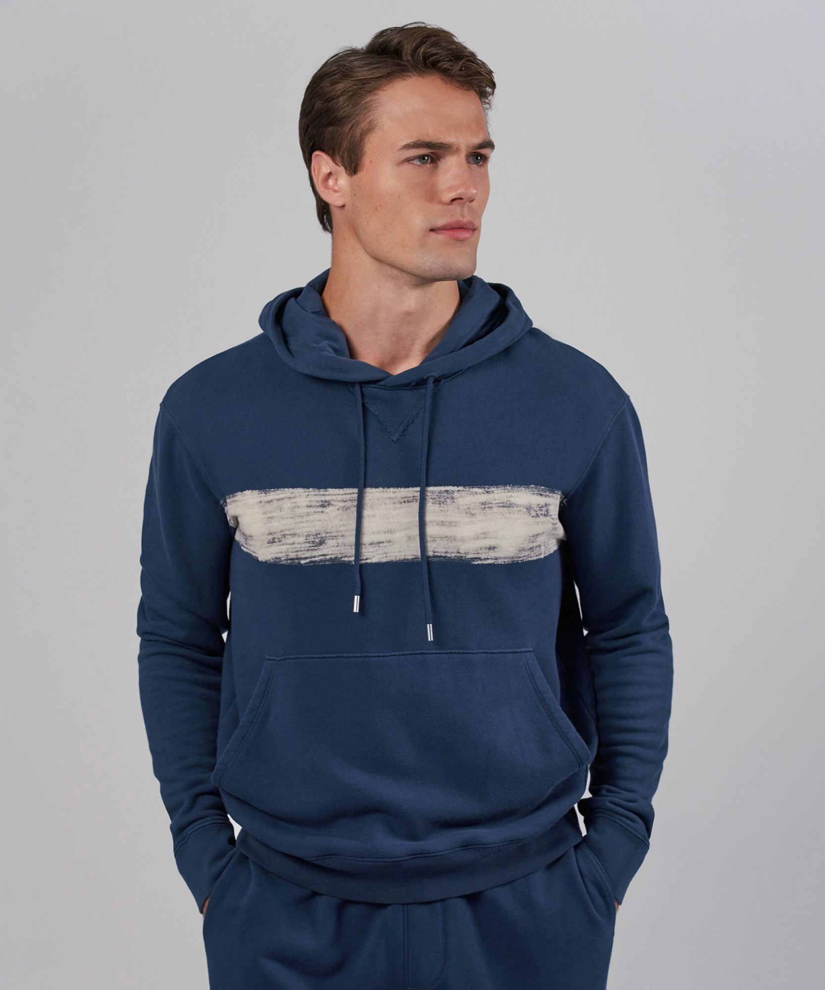 Indigo French Terry Pullover Hoodie - Men's Sweatshirt by ATM Anthony Thomas Melillo