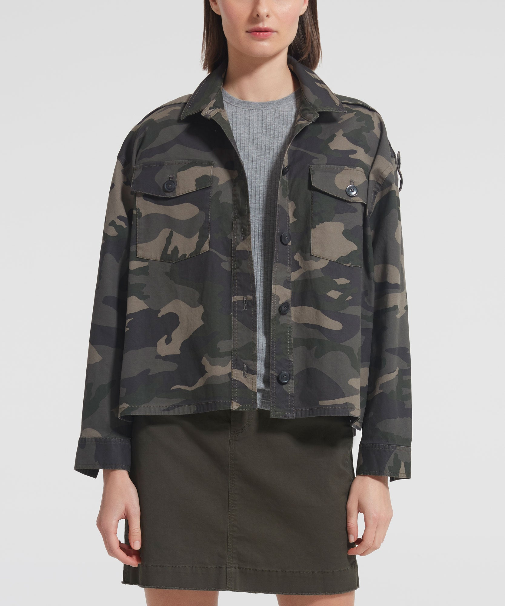 Jungle Camo Stretch Cotton Cropped Boxy Jacket - Women's Casual Jacket by ATM Anthony Thomas Melillo
