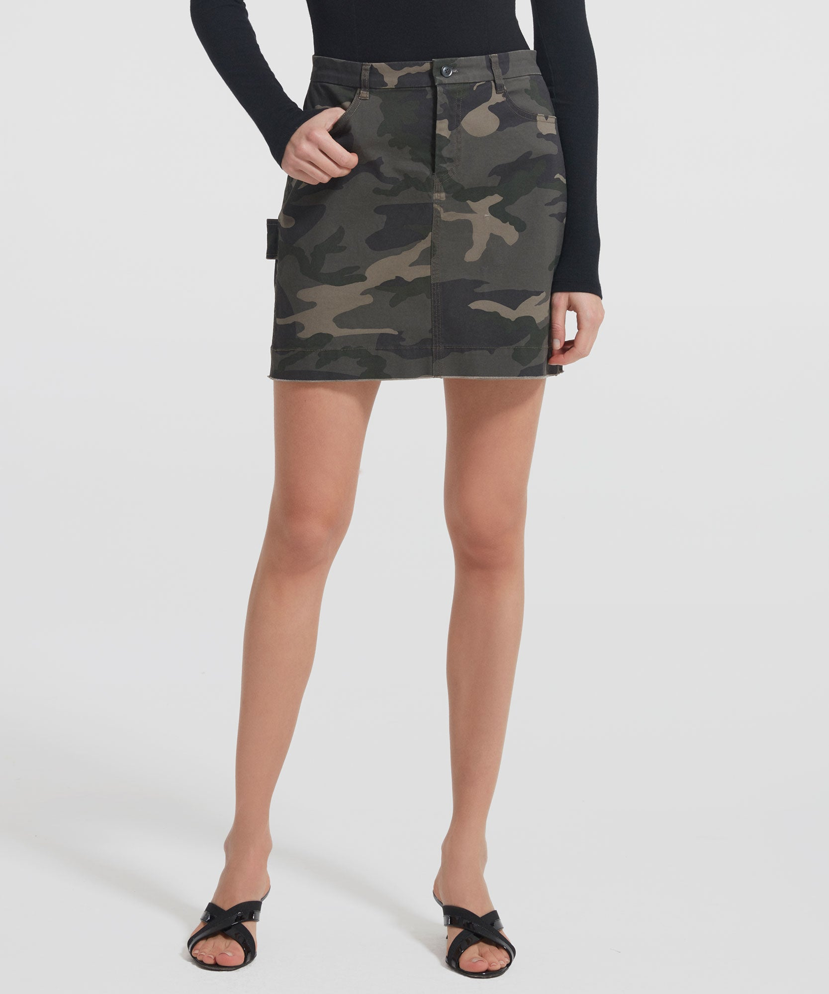 Jungle Camo Stretch Cotton Mini Skirt - Women's Cotton Mini Skirt by ATM Anthony Thomas Melillo