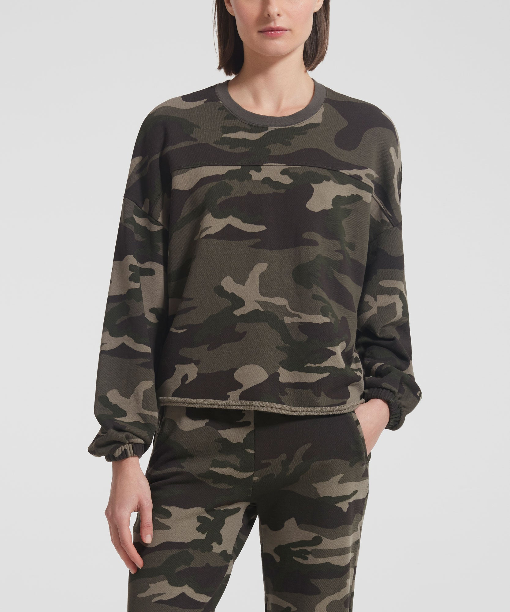 Jungle Camo French Terry Crew Neck Sweatshirt - Women's Luxe Cotton Loungewear by ATM Anthony Thomas Melillo