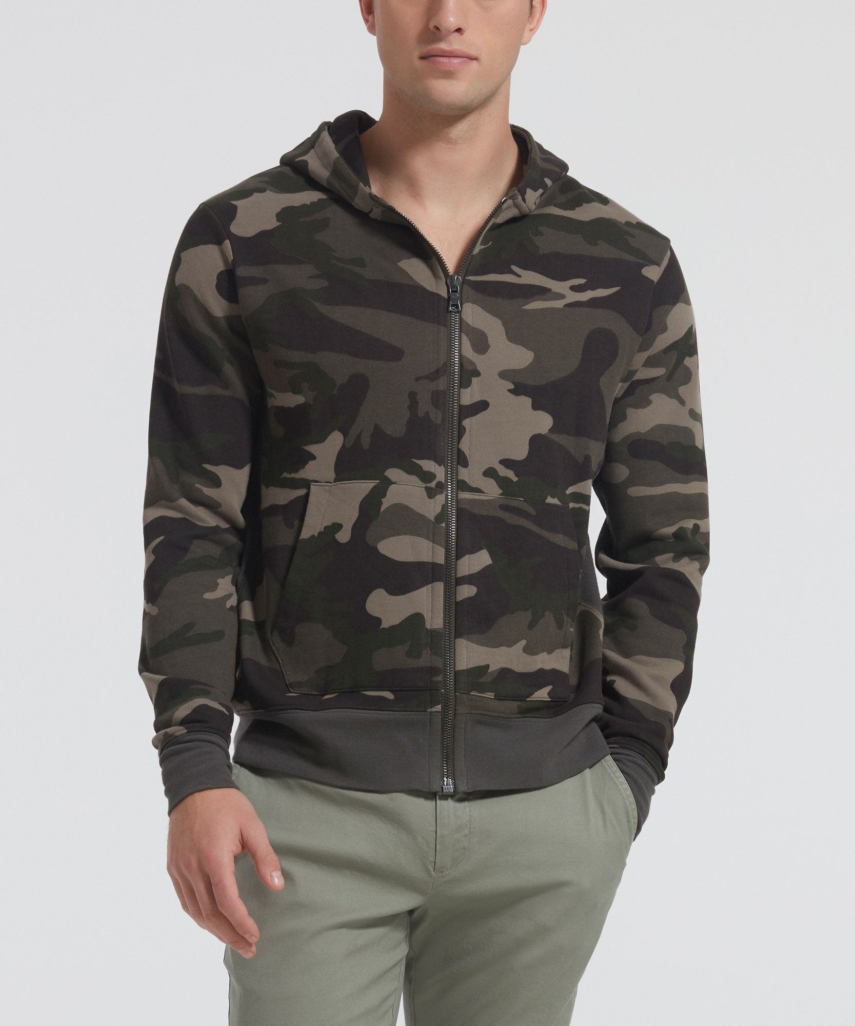 Jungle Camo French Terry Hoodie - Men's Luxe Cotton Loungewear by ATM Anthony Thomas Melillo