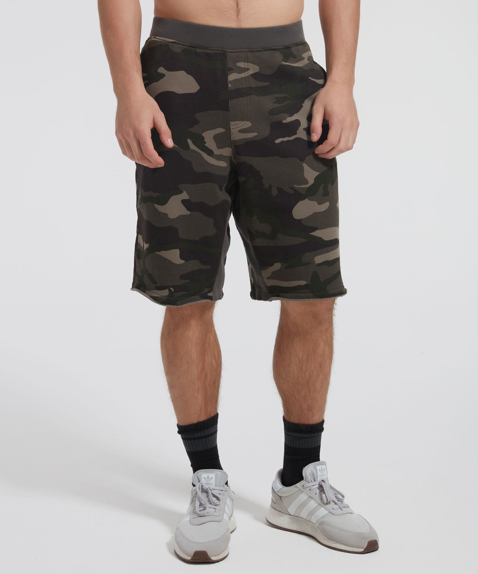 Jungle Camo French Terry Pull-On Shorts - Men's Luxe Cotton Loungewear by ATM Anthony Thomas Melillo