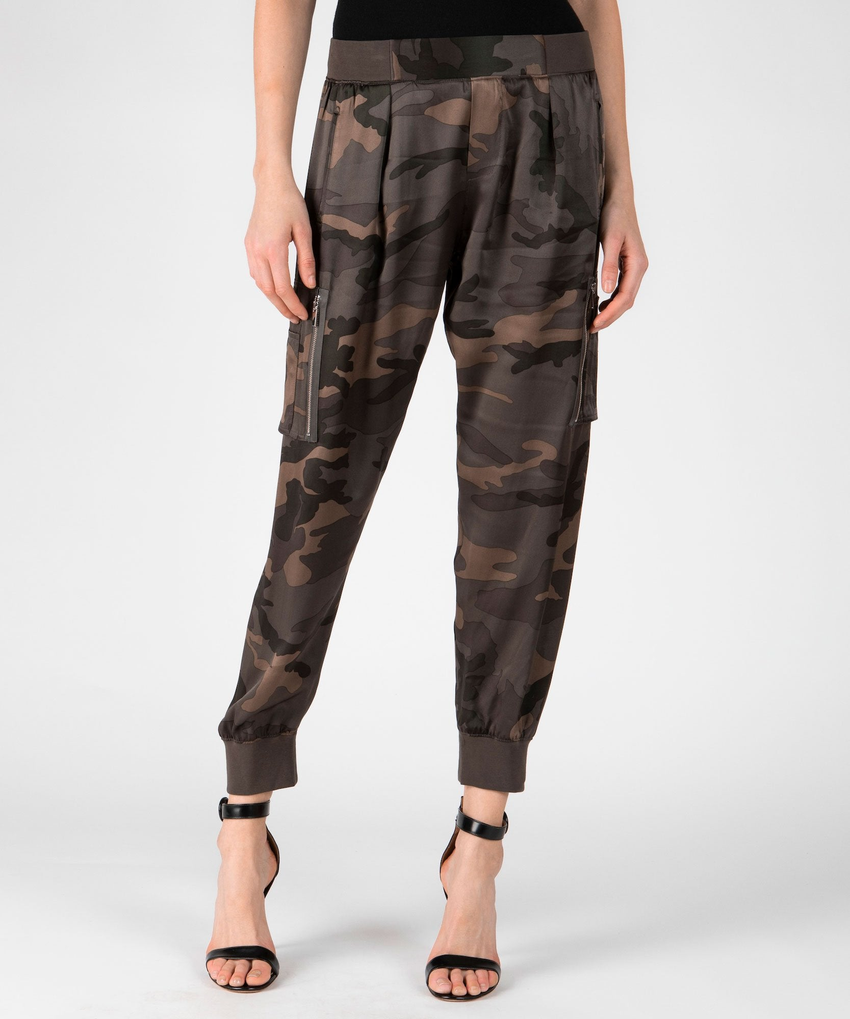 Jungle Camo Silk Cargo Sweatpants - Women's Silk Pants by ATM Anthony Thomas Melillo